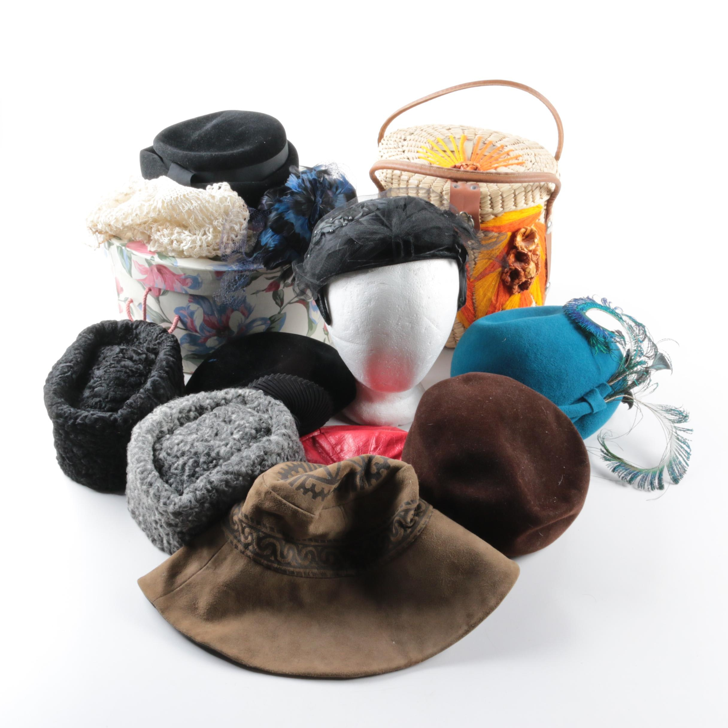 Women's Vintage Hats and Hatboxes Including Mr. John and Persian Lamb