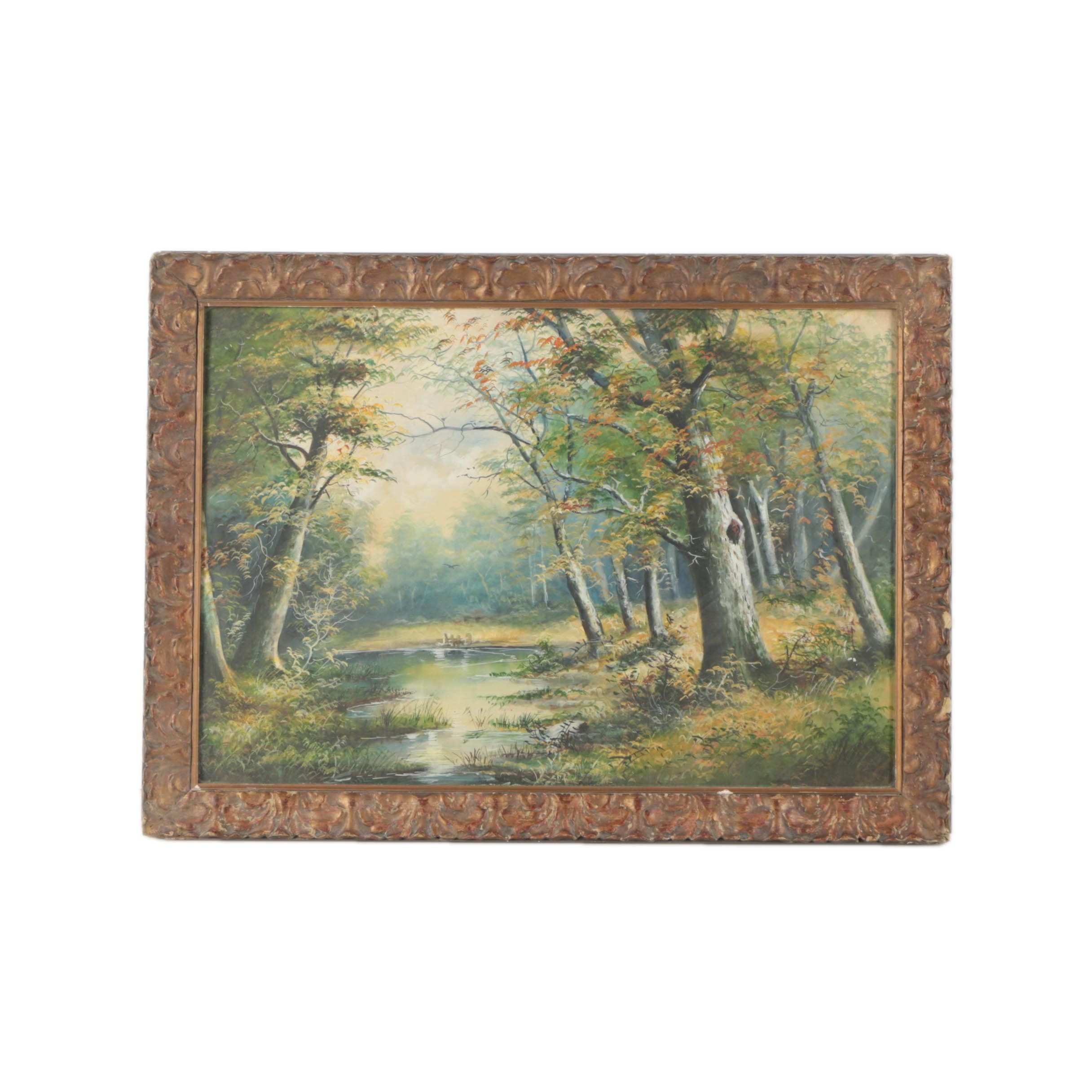 20th Century Gouache Painting of Wooded Landscape