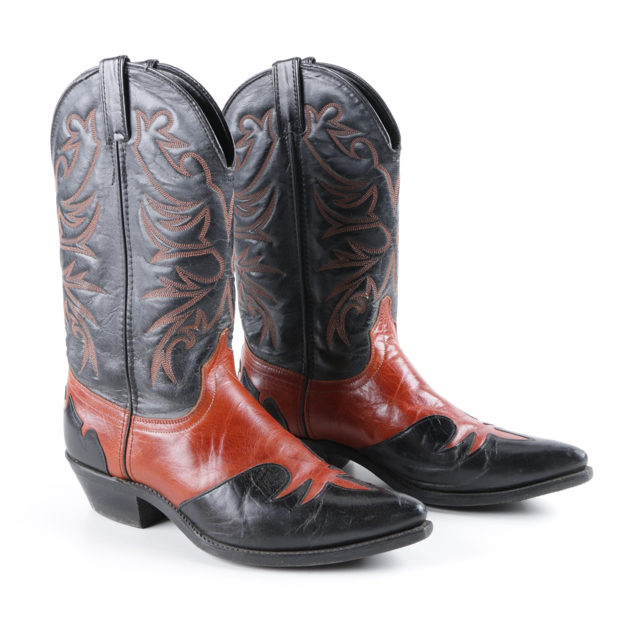 Men's Laredo Black and Rust Brown Leather Cowboy Boots