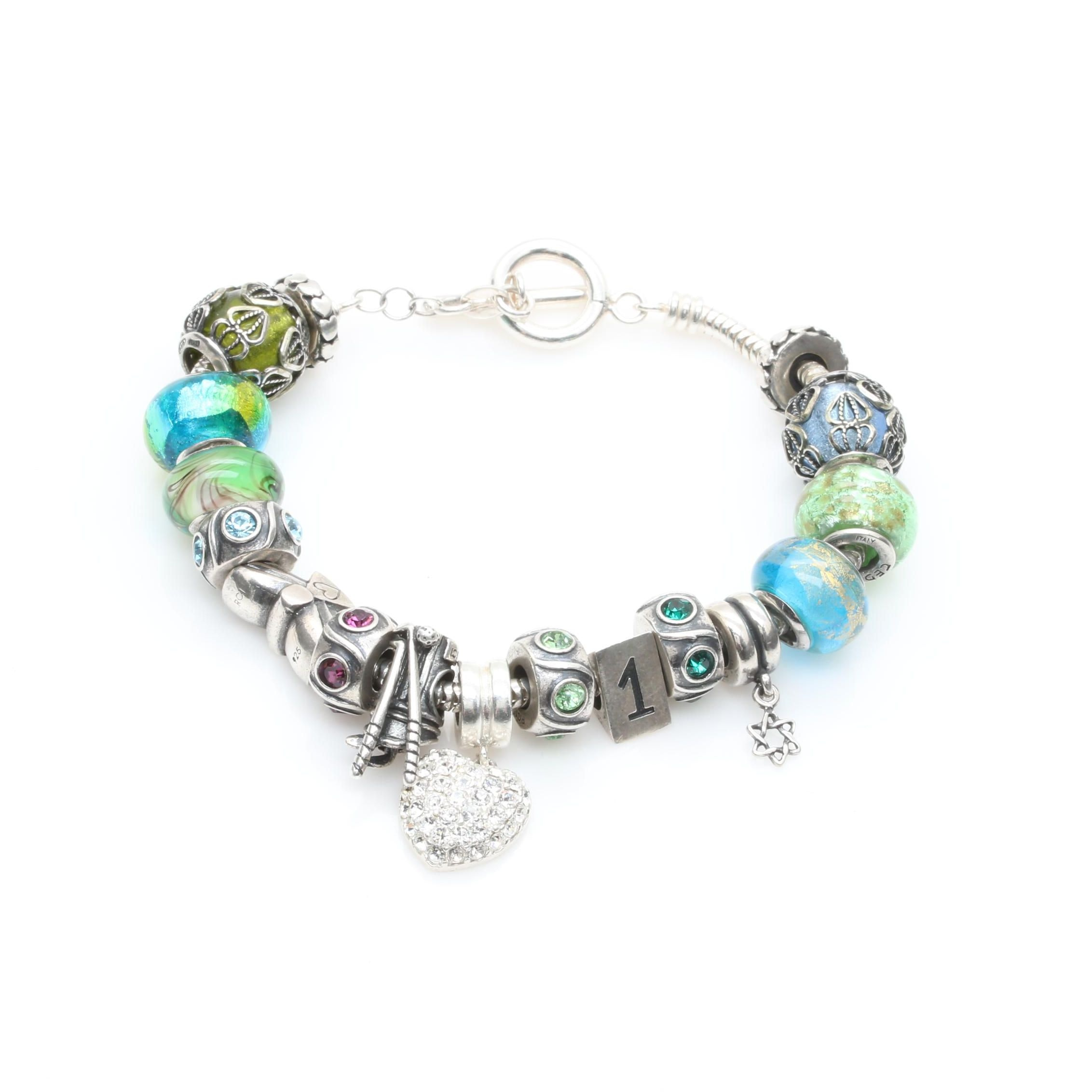 Sterling Silver Charm Bracelet Including Cubic Zirconia and Lampwork Glass