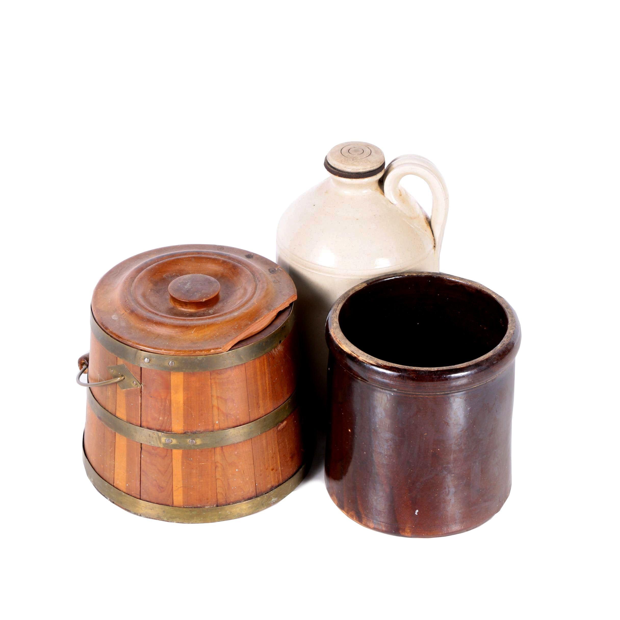 Vintage Stoneware and Wooden Bucket