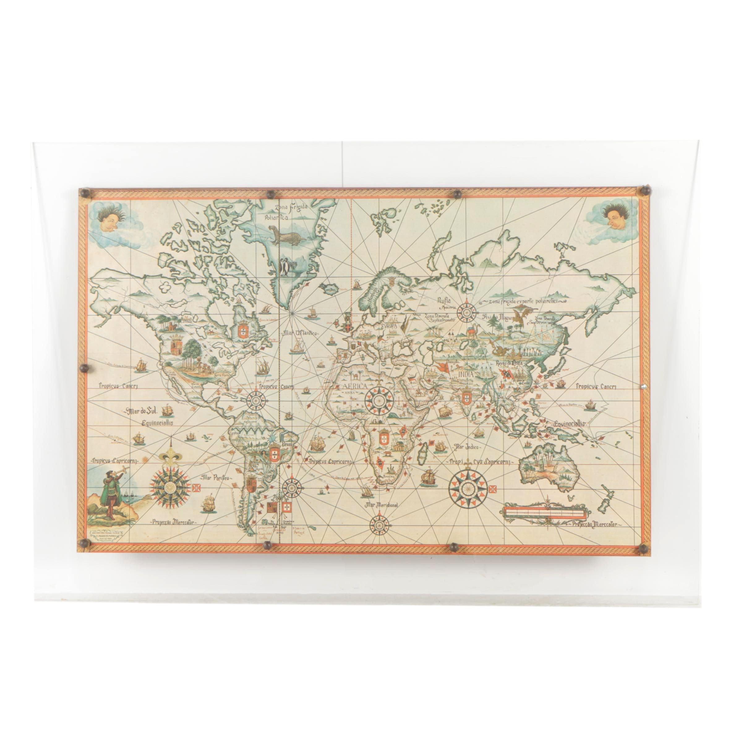Vintage Offset Lithograph of a Portuguese Language Nautical Map