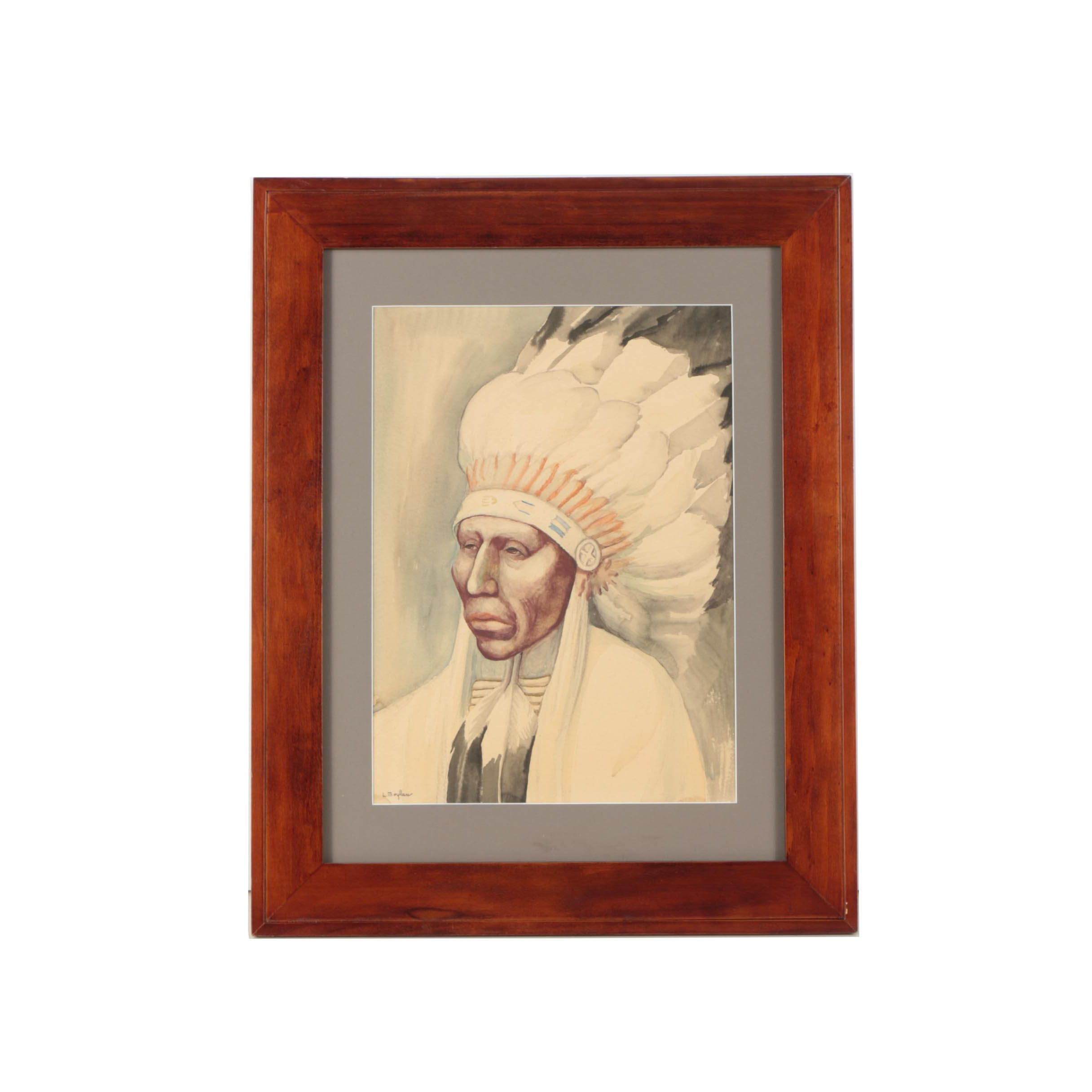L. Moylan Watercolor Painting of a Native American