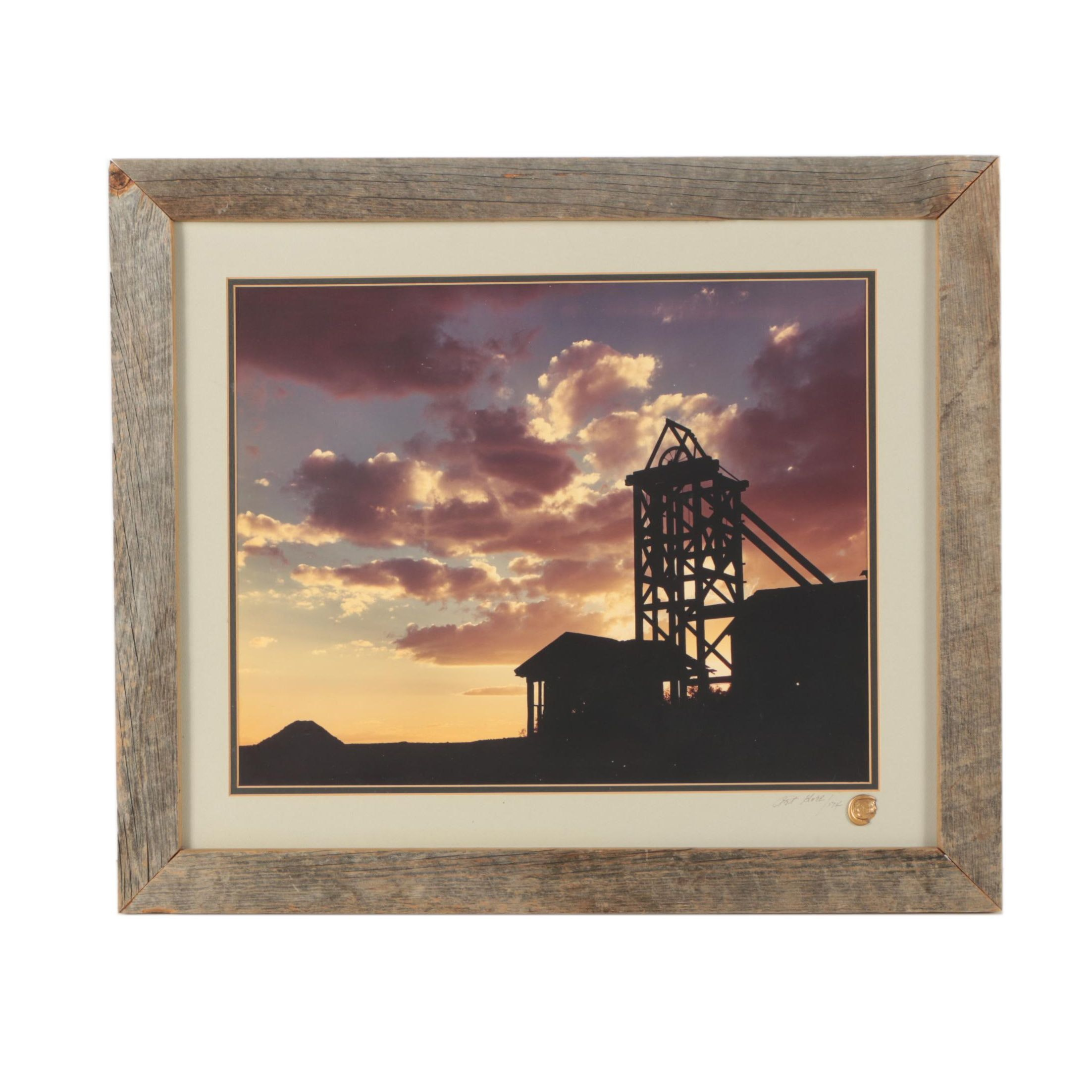 Art Gore 1974 Color Photograph of Rural Factory at Twilight