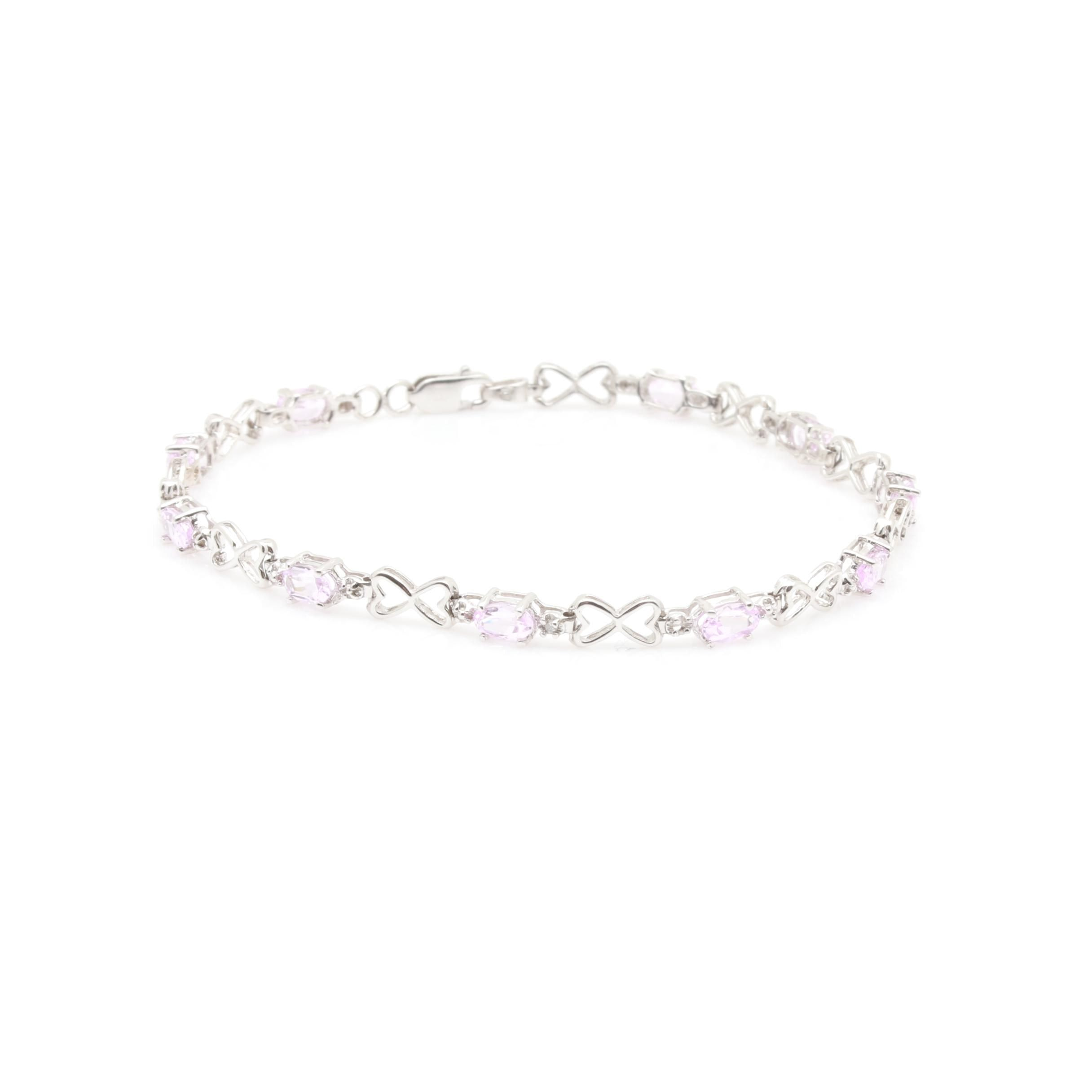 10K White Gold Synthetic Pink Sapphire and Diamond Bracelet
