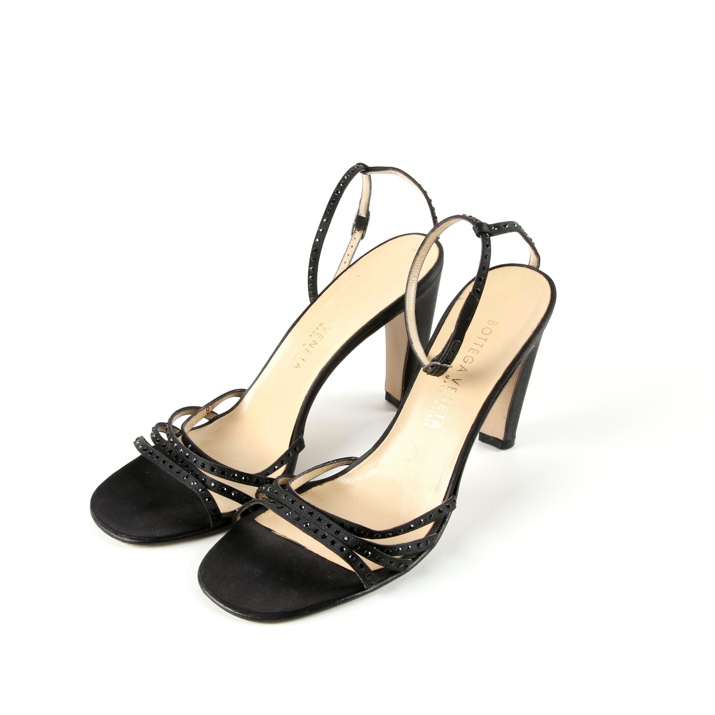 Bottega Veneta Black Satin and Rhinestone Dress Sandals, Made in Italy