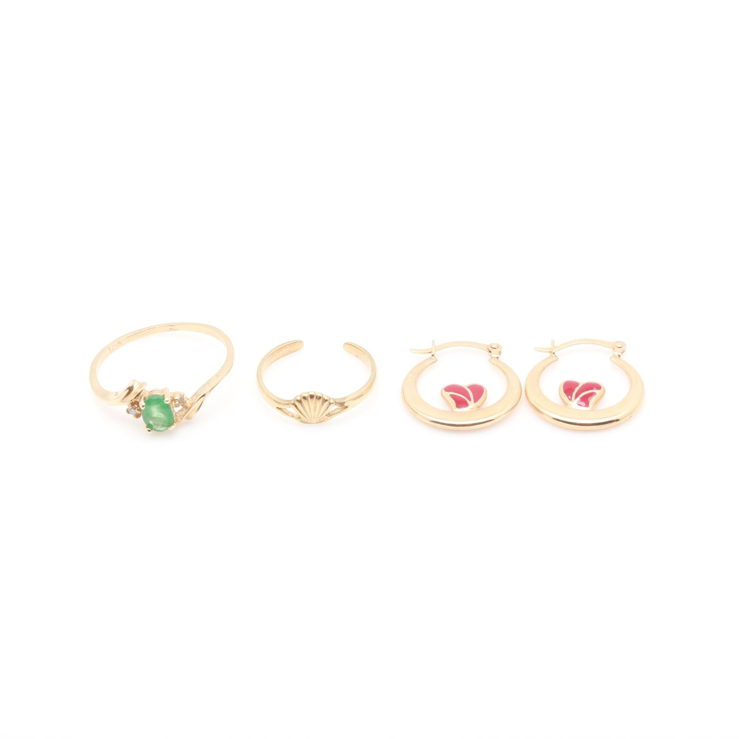 14K Yellow Gold Emerald and Diamond Ring, Earring, and Toe Ring Selection