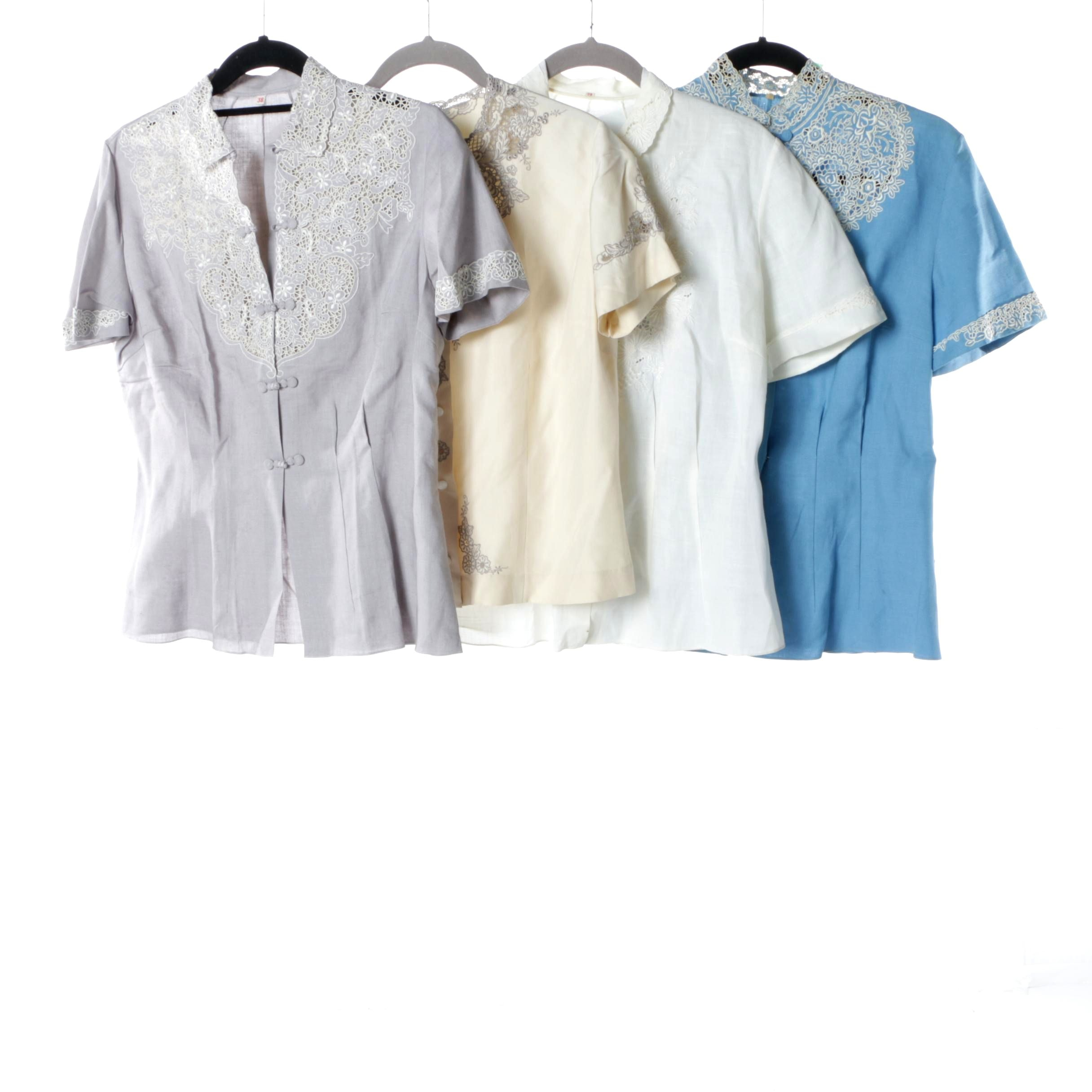 Women's Vintage Lace Embellished Short Sleeve Blouses