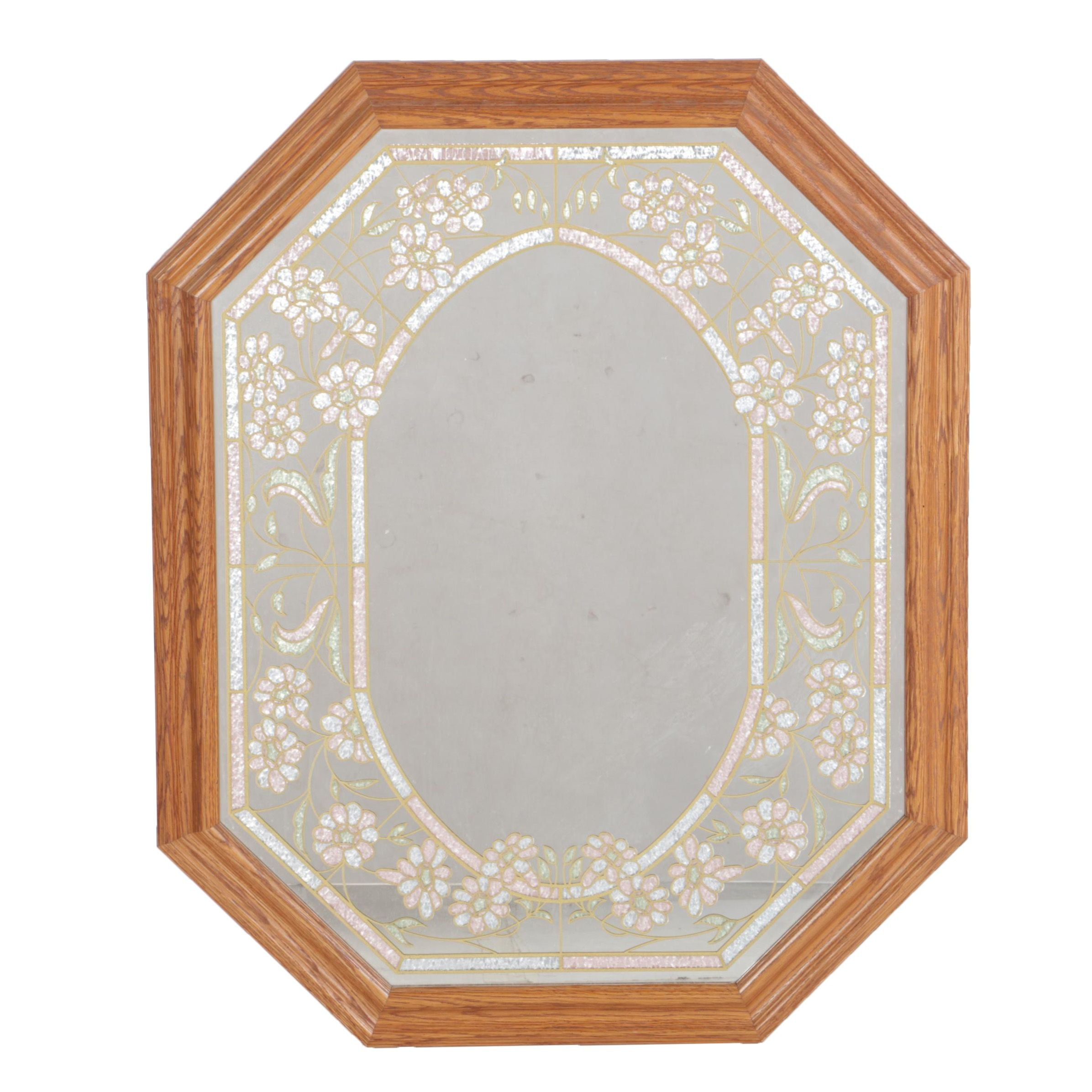 Wood Framed Wall Mirror with Floral Border