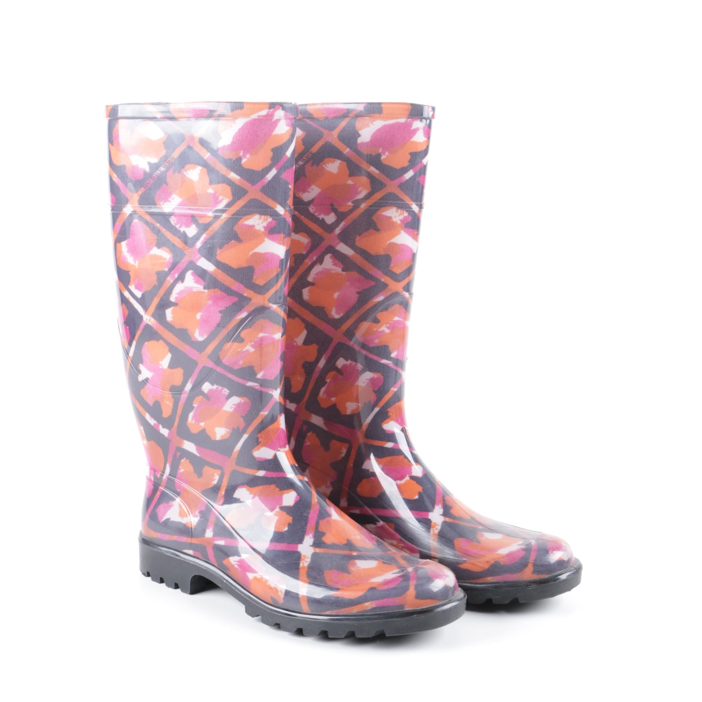 Burberry Pink and Orange Floral Rain Boots