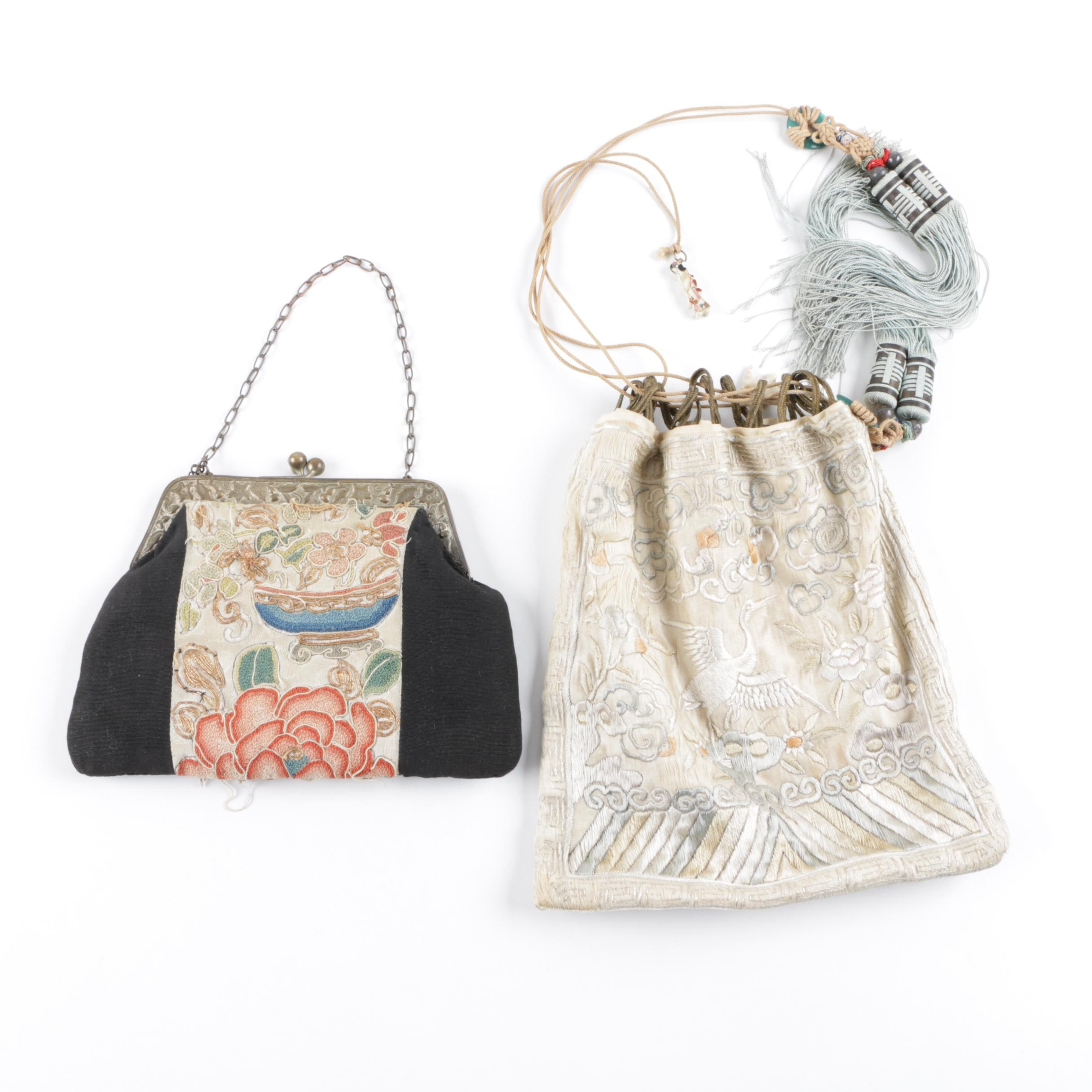 Vintage Chinese Embroidered Handbags with Glass and Bone Bead Accents