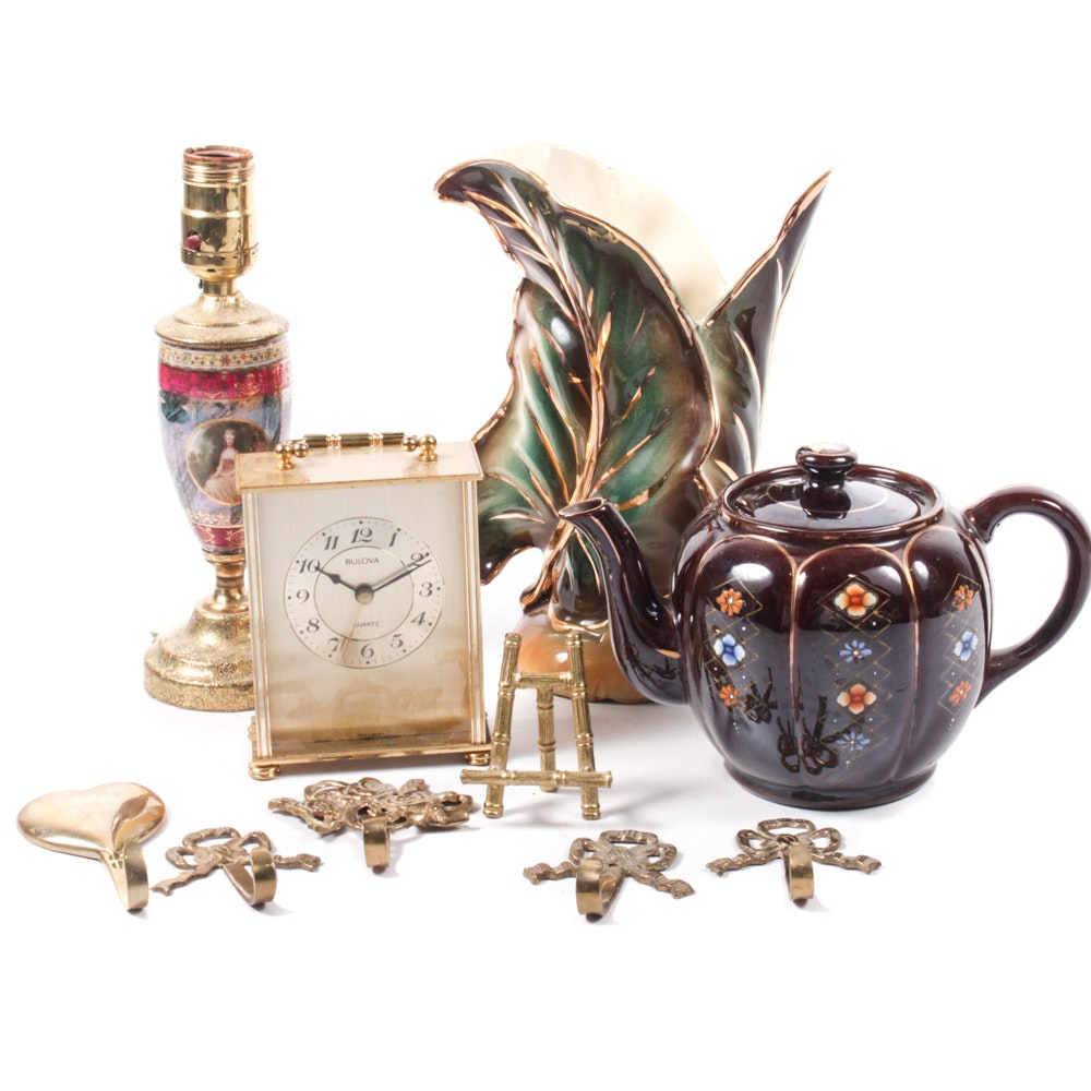Home Accents including Bulova Carriage Clock and Shawnee Gold Leaf Vase