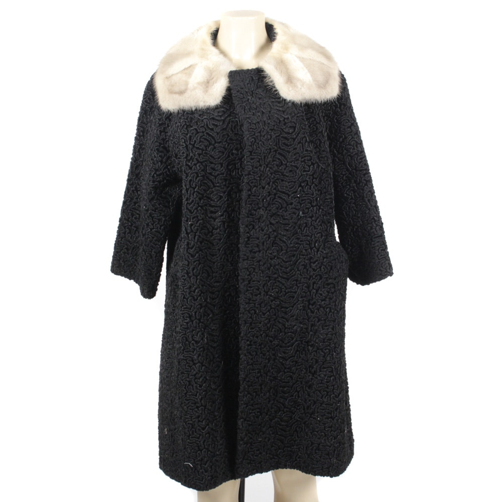Winkelman's Vintage Black Persian Lamb Fur and Platinum Mink Fur Coat