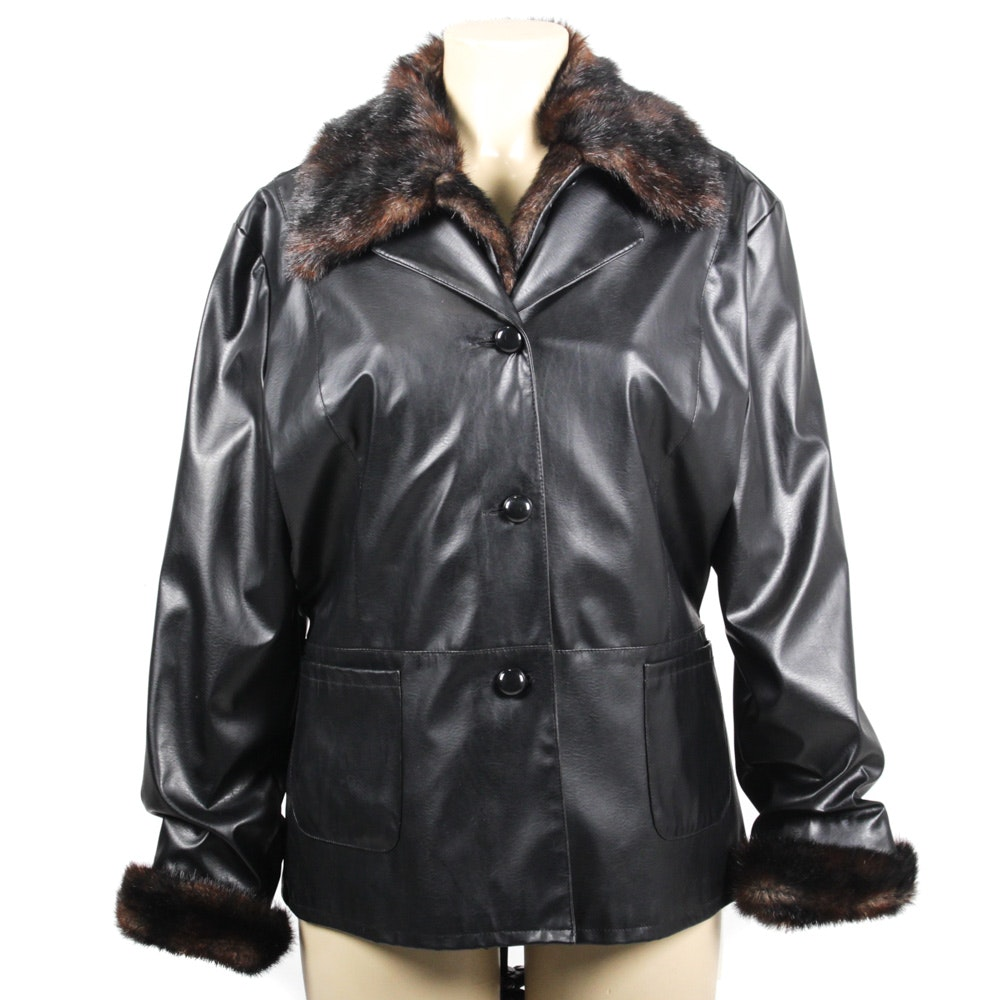 Kathy Ireland Mink Fur Lined Black Leather Jacket