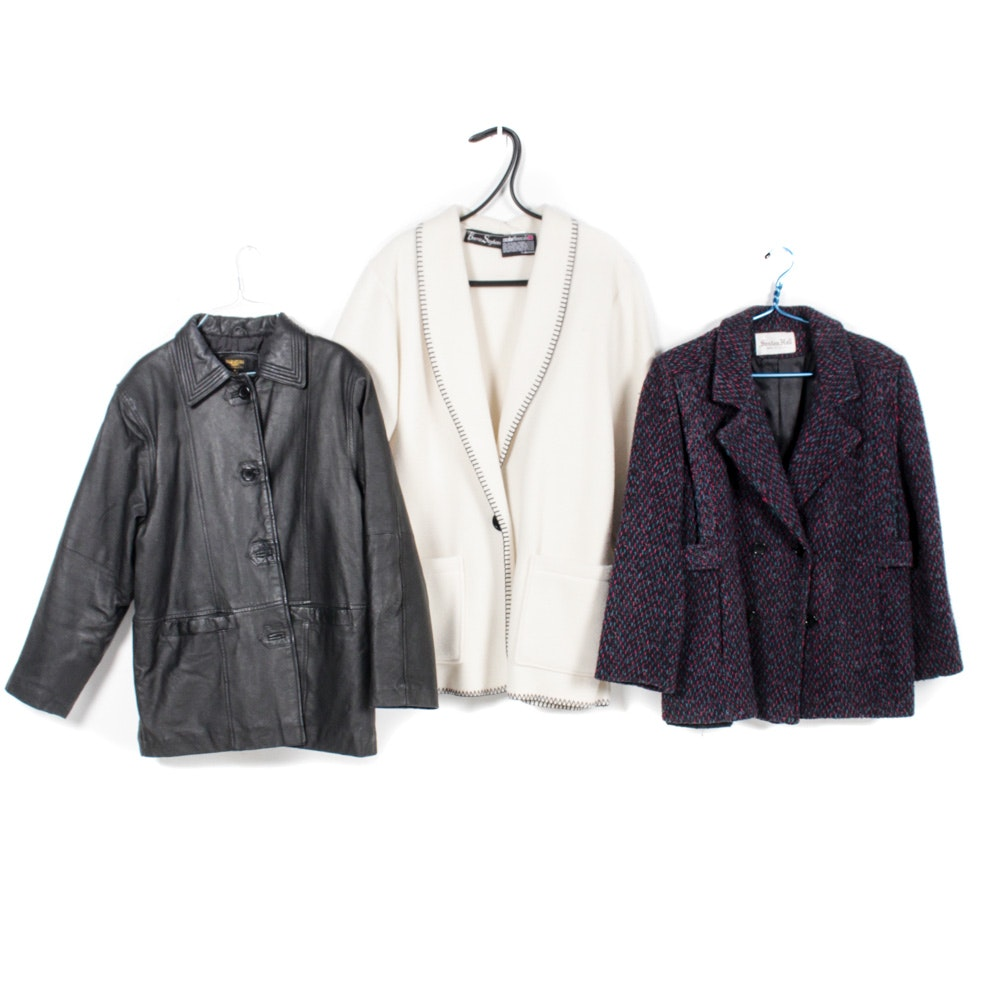 Leather, Fleece, and Tweed Outerwear