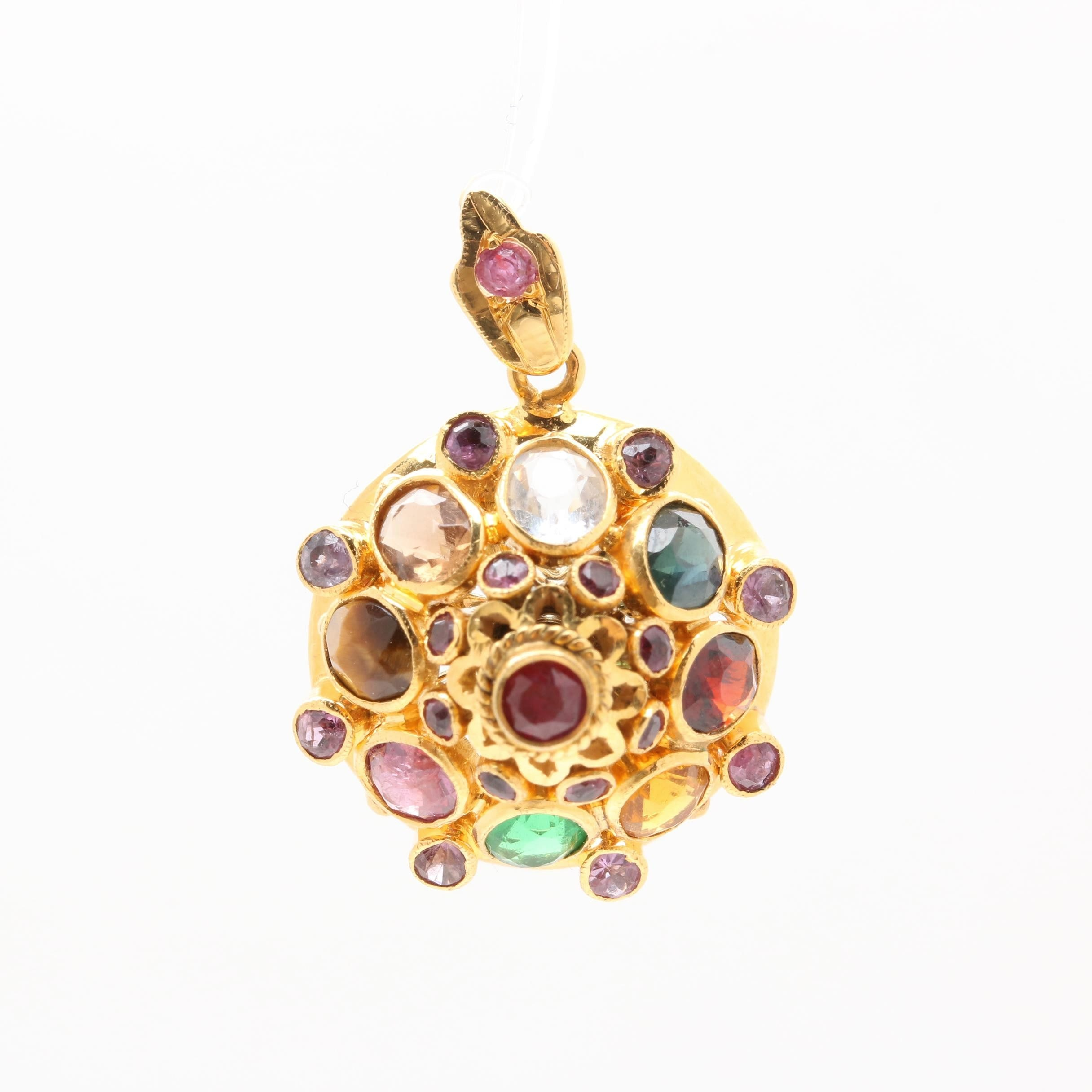 14K Yellow Gold Ruby and Gemstone Pendant