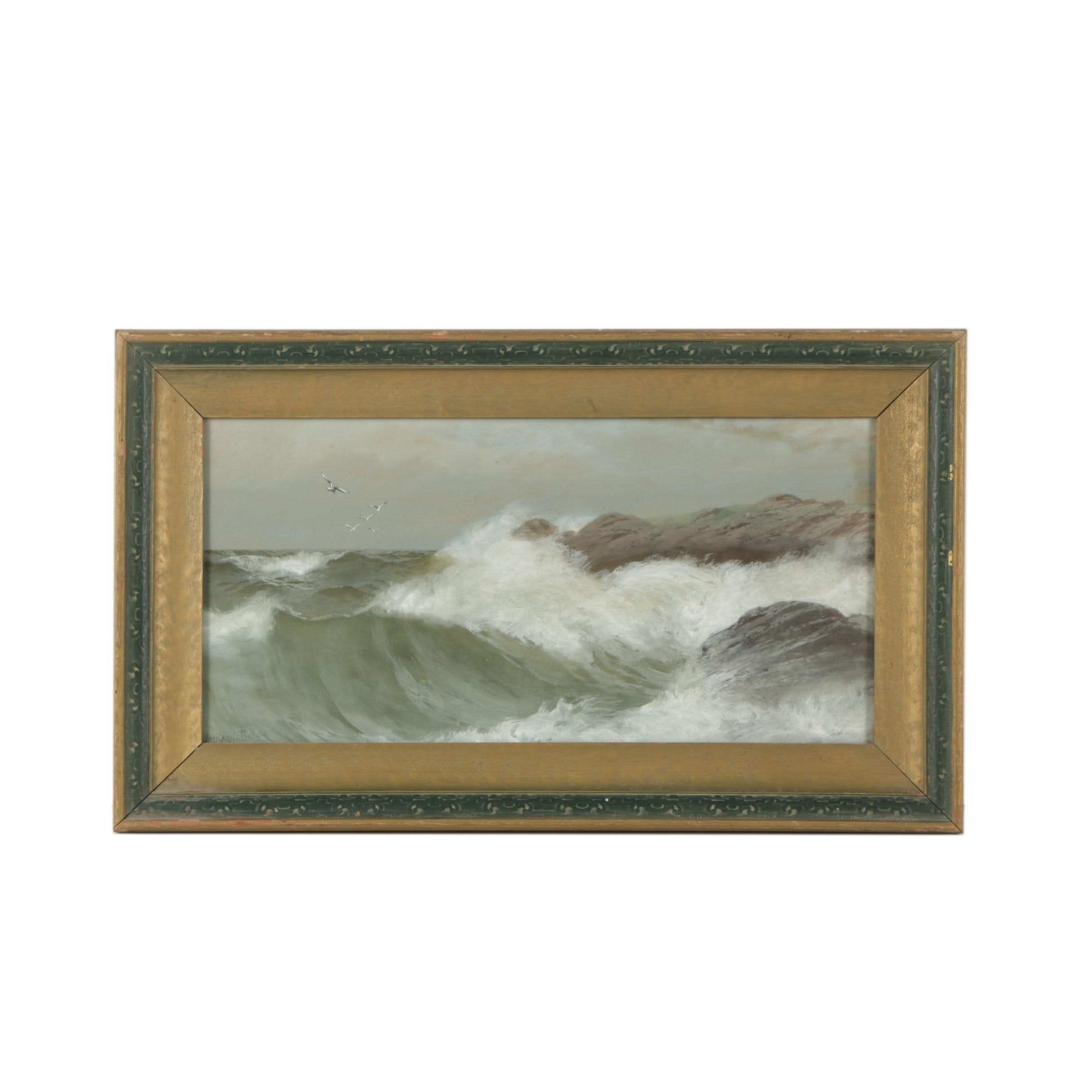Neil Mitchill Gouache Painting of a Turbulent Seascape