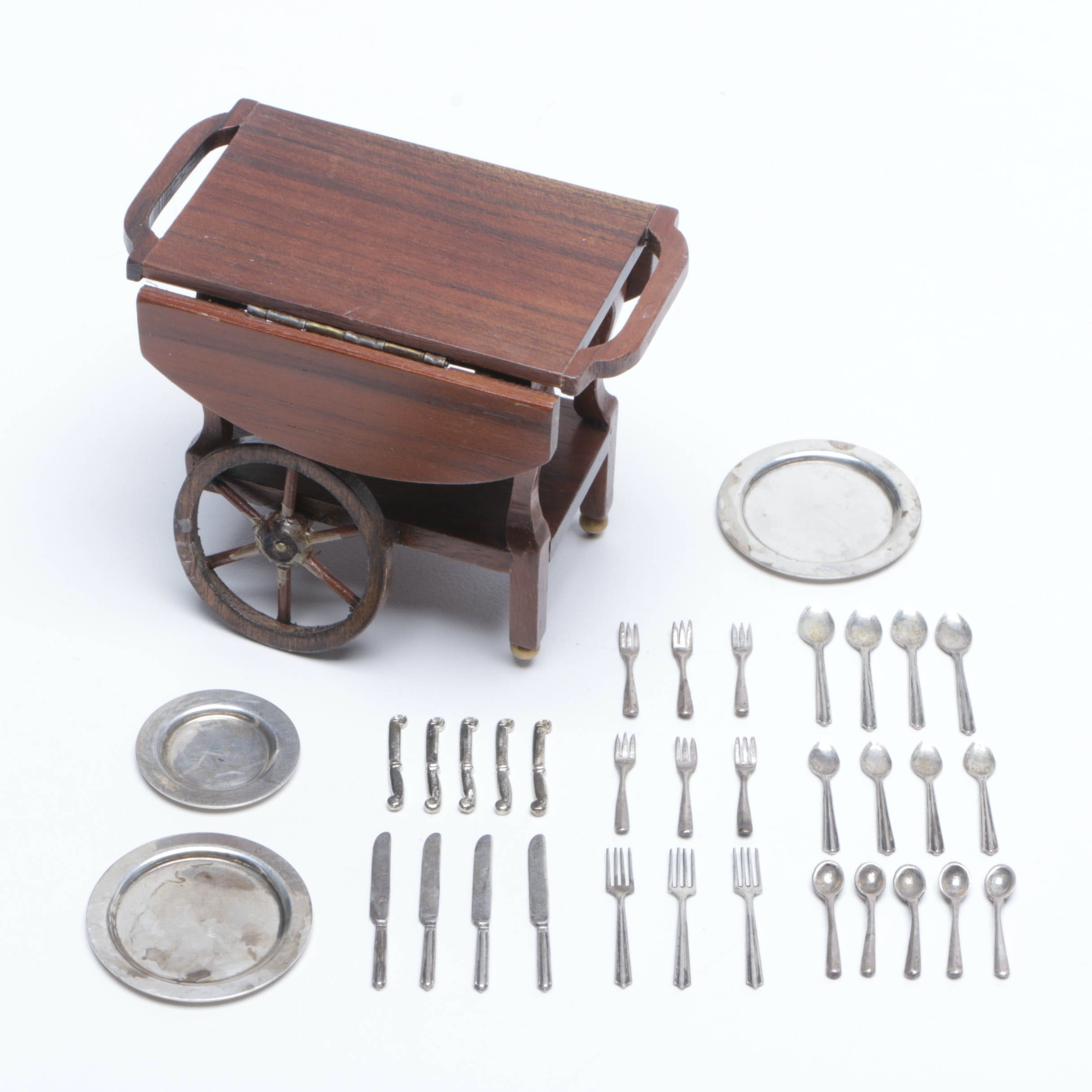Sterling Silver Miniature Plates and Flatware