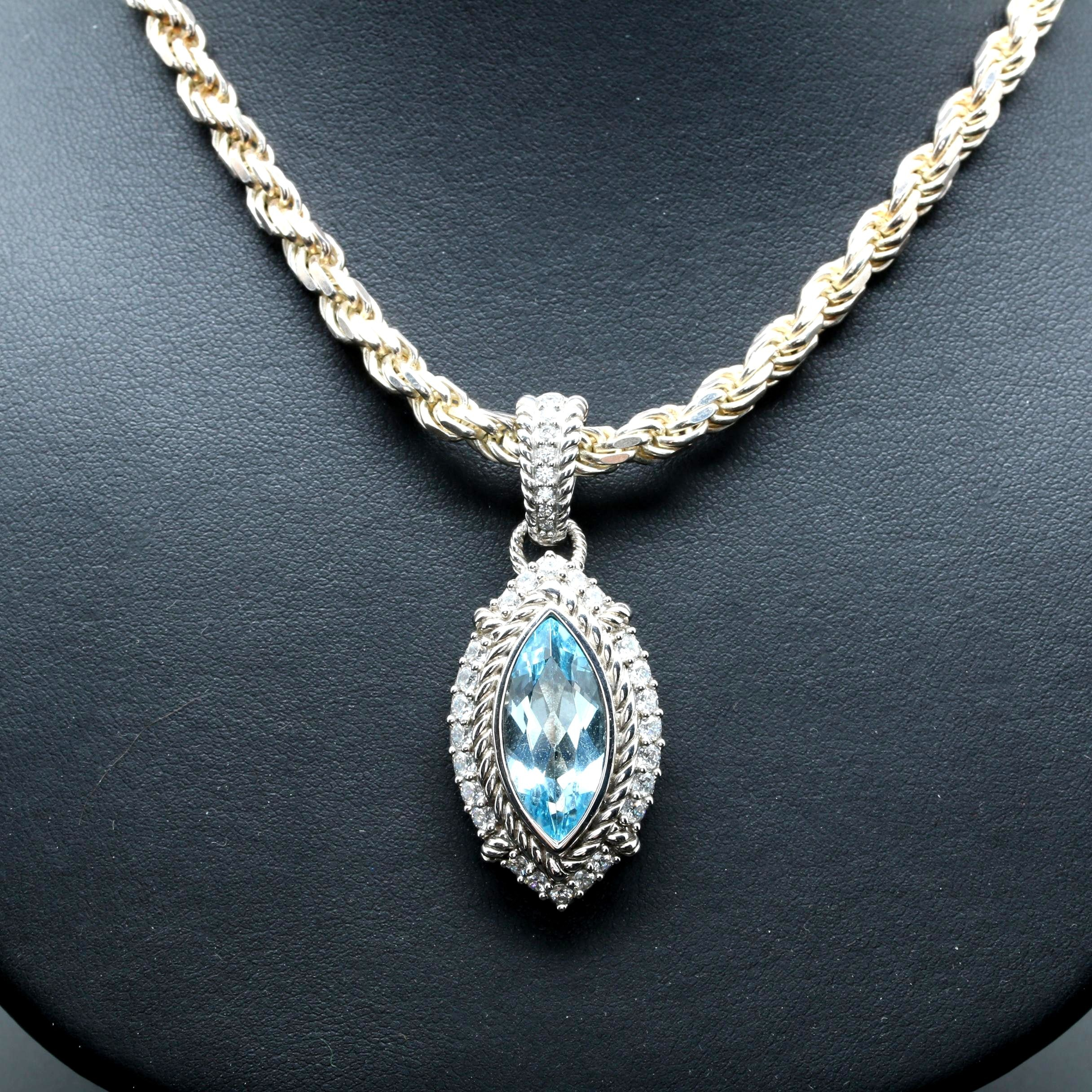 Judith Ripka Sterling Silver Blue Topaz and Cubic Zirconia Pendant on Chain