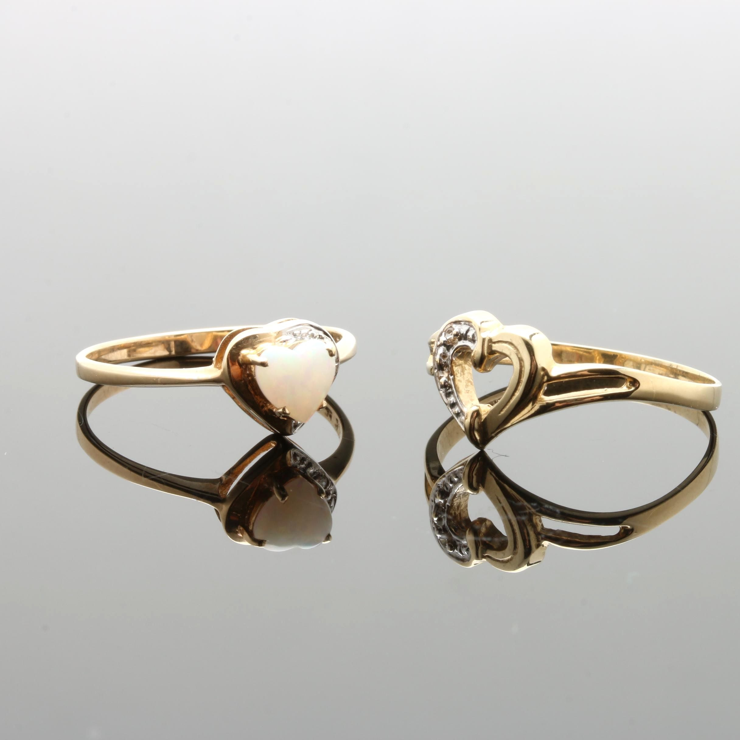 10K Yellow Gold Opal and Diamond Rings