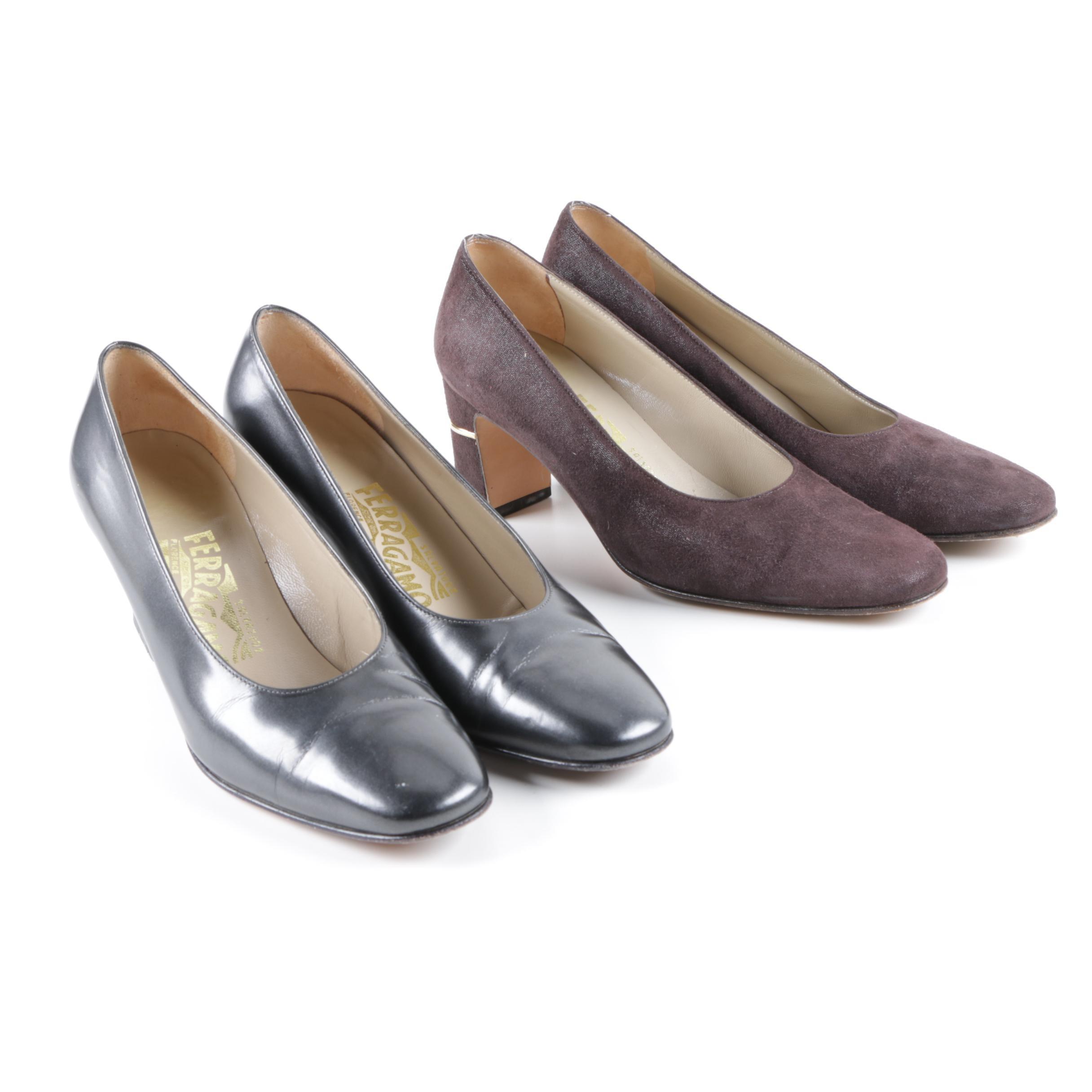 Women's Salvatore Ferragamo Leather and Suede Pumps