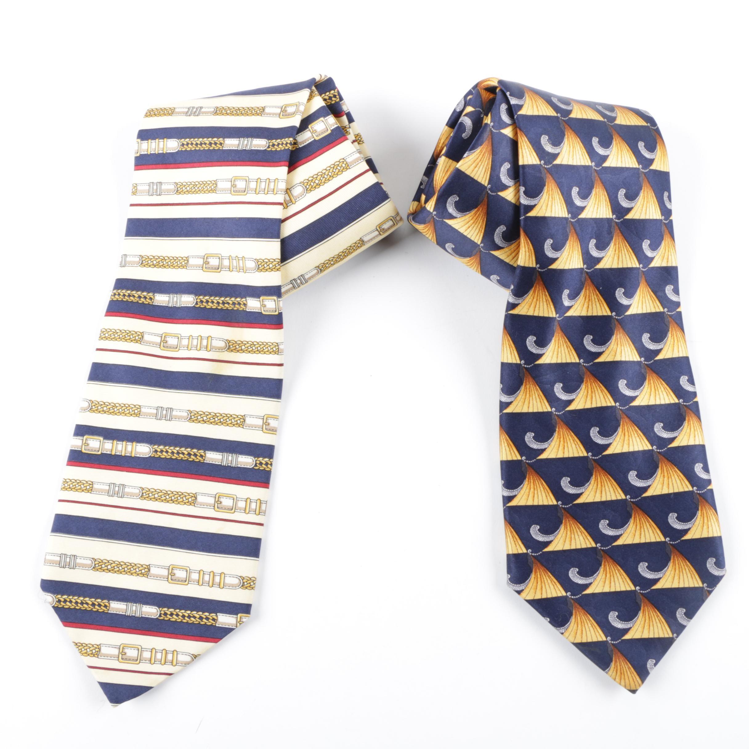Vintage Paolo Gucci and Lanvin Paris Silk Neckties