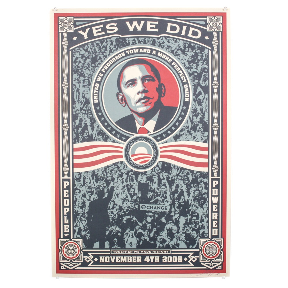 "Shepard Fairey Offset Print ""Yes We Did!"""