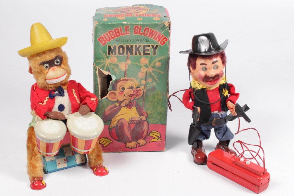 Vintage 1950s Mechanical Monkeys and Cowboy
