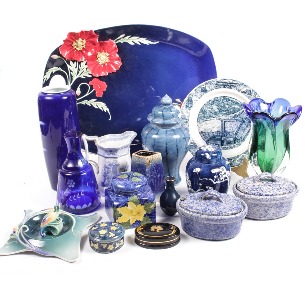 Assorted Blue Toned Ceramic and Glass Home Accesories