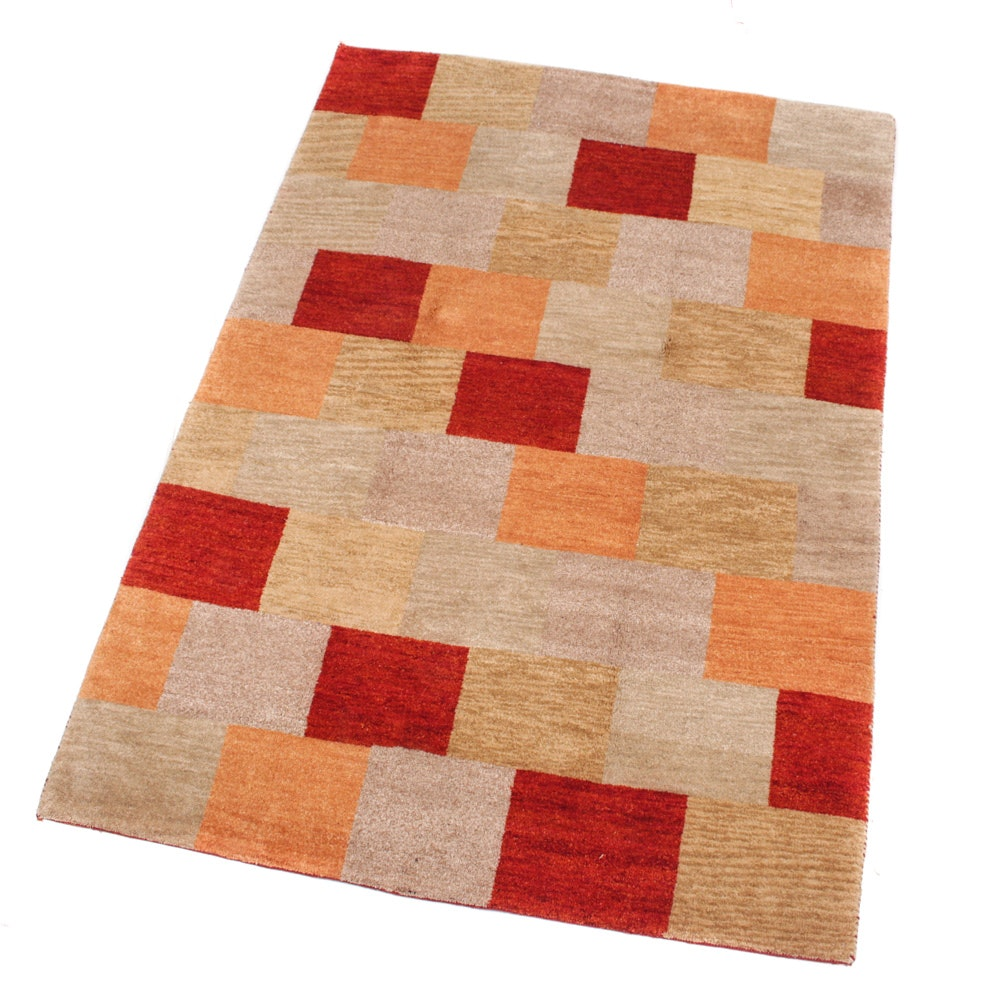 Hand-Knotted Indo-Persian Gabbeh Mid-Century Modern Style Rug