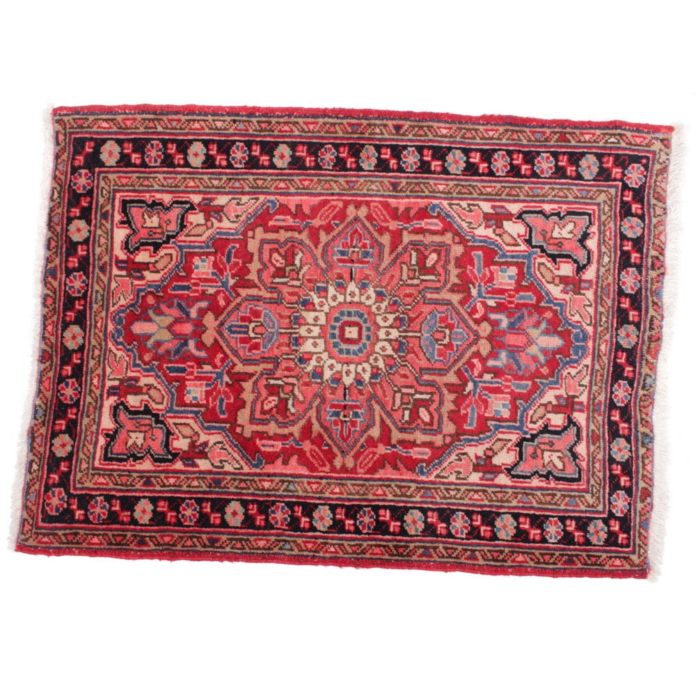 Hand-Knotted Vintage Persian Heriz Rug