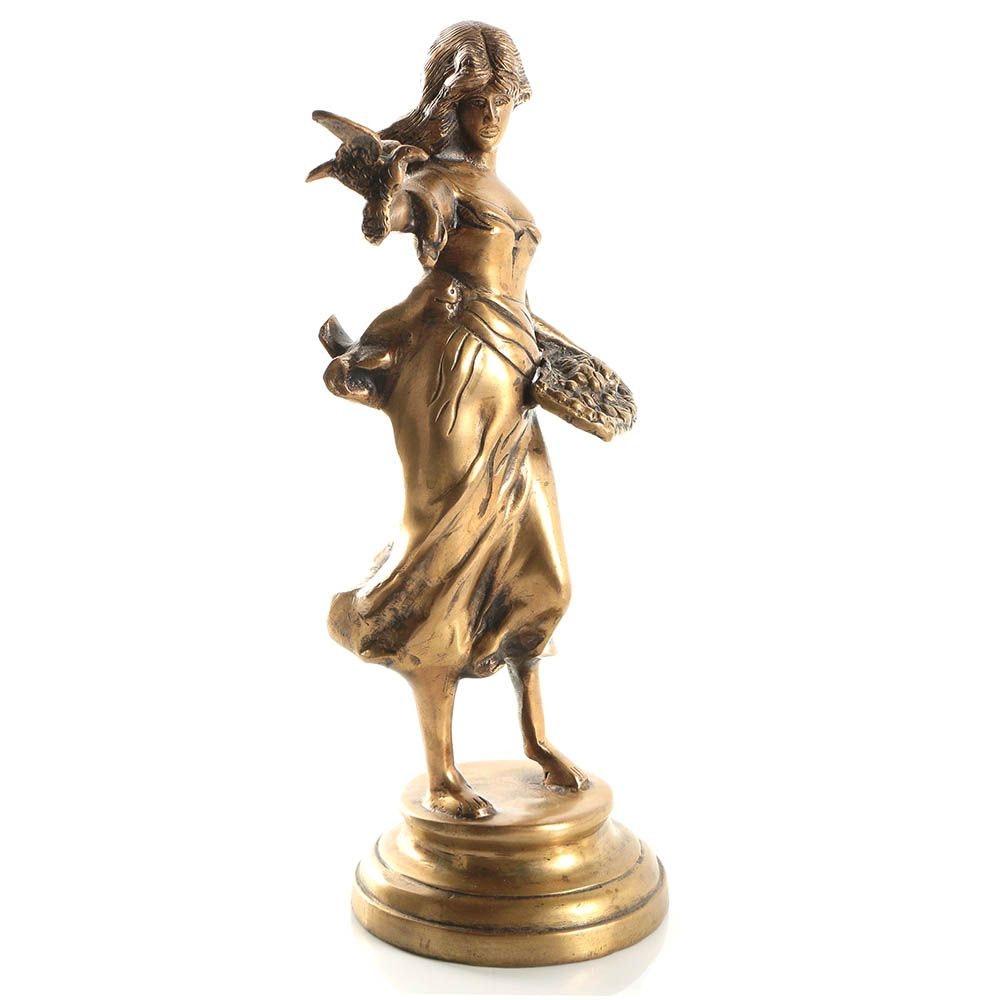 Brass Sculpture of Woman with Bird