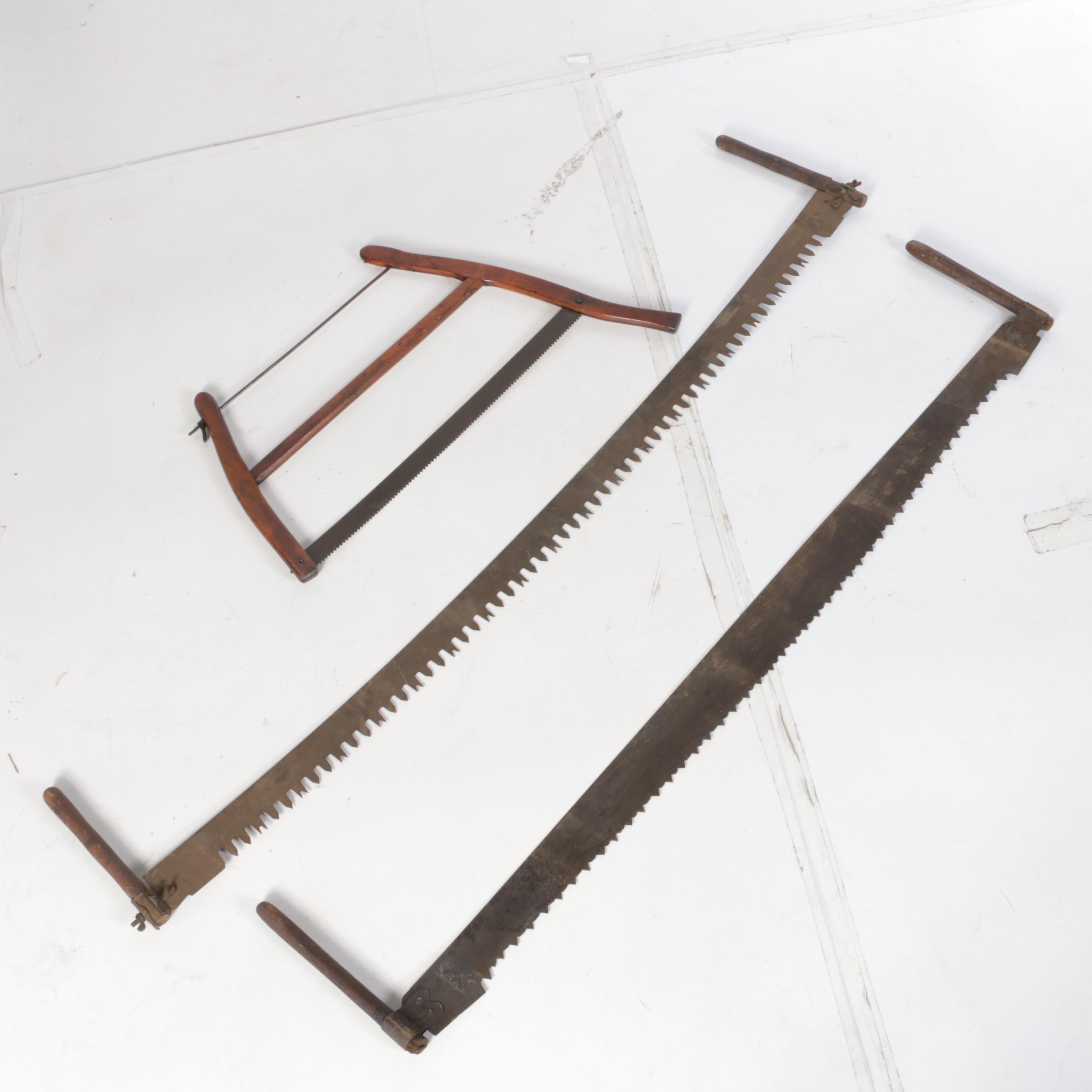 Two Man Saws Including Crosscut And A Frame Saw Ebth