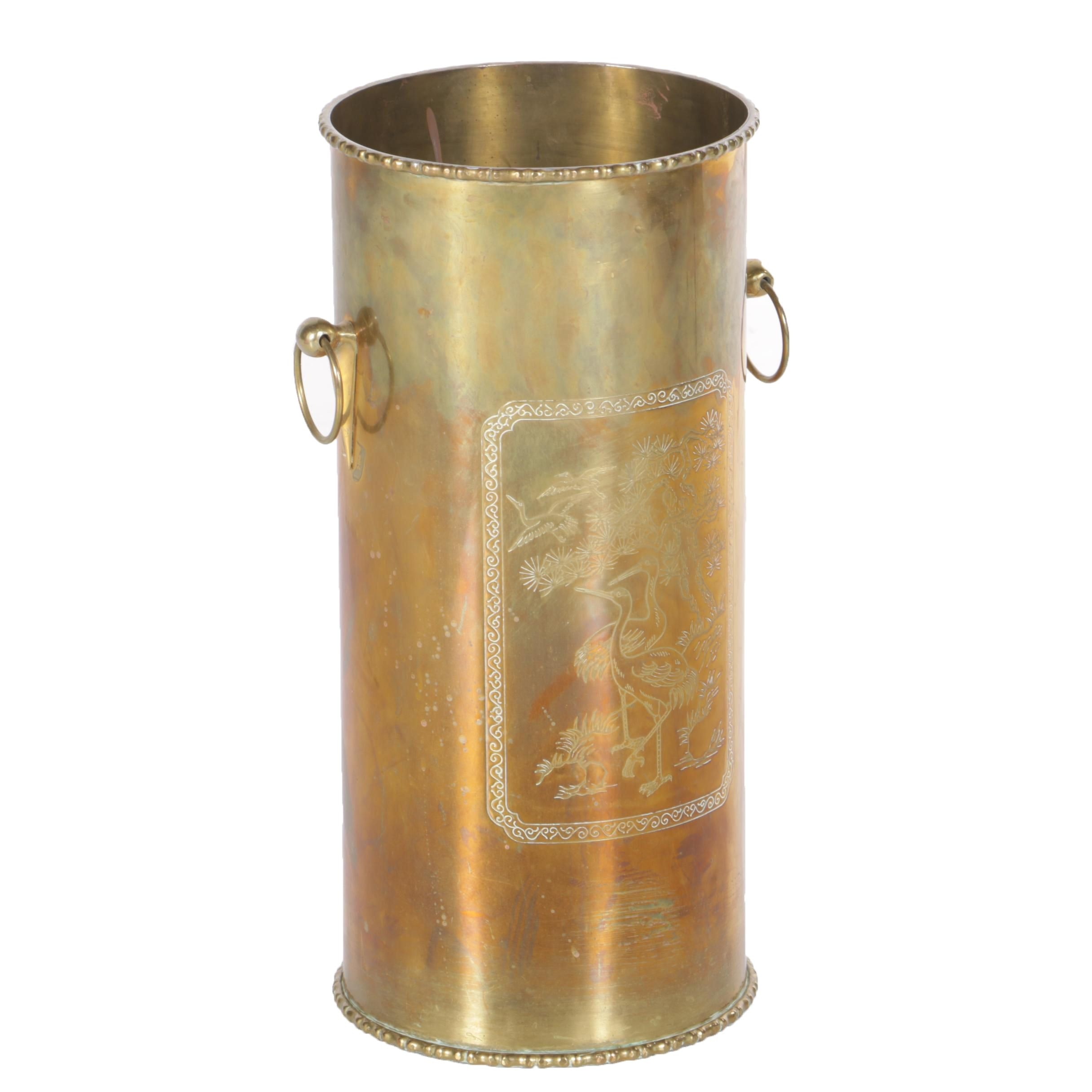 Chinoiserie Decorated Brass Umbrella Stand