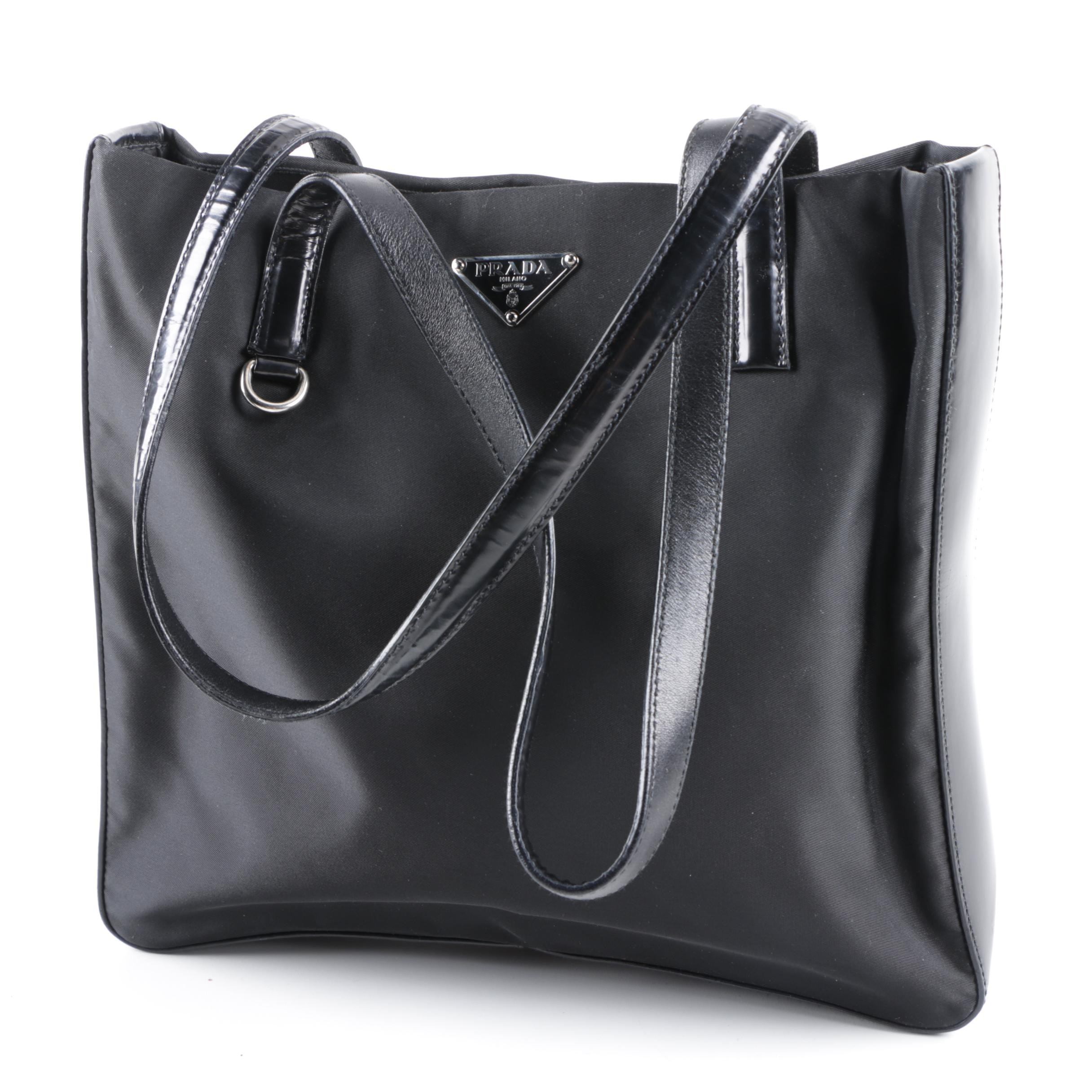 Prada Black Nylon and Leather Tote