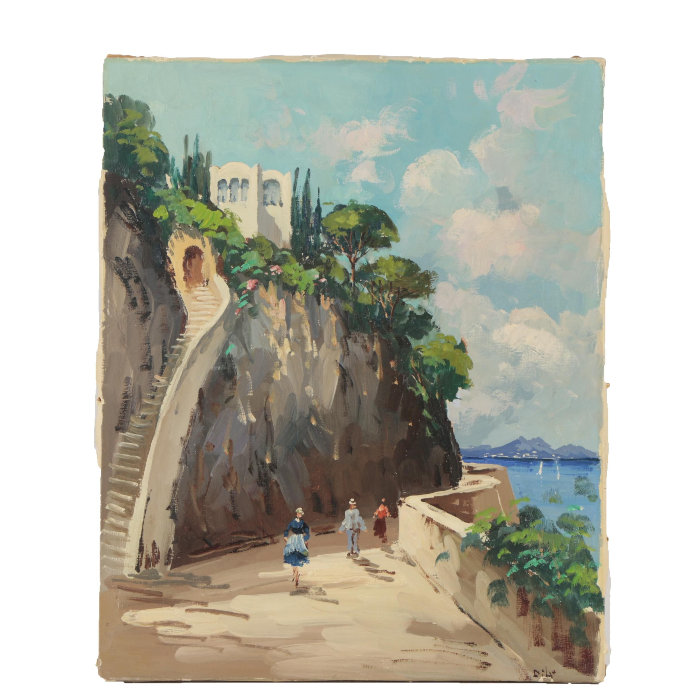 Oil Painting of a Seaside Village