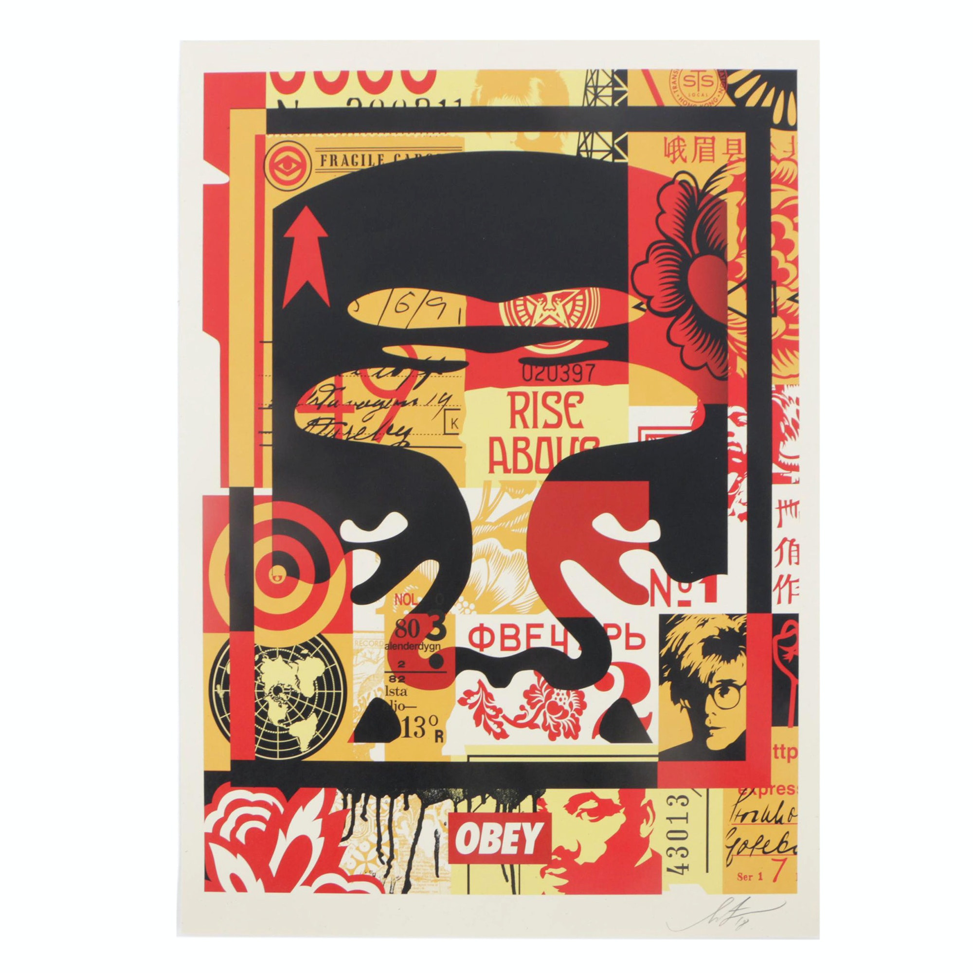 """Shepard Fairey Offset Print """"Obey 3-Face Collage"""""""