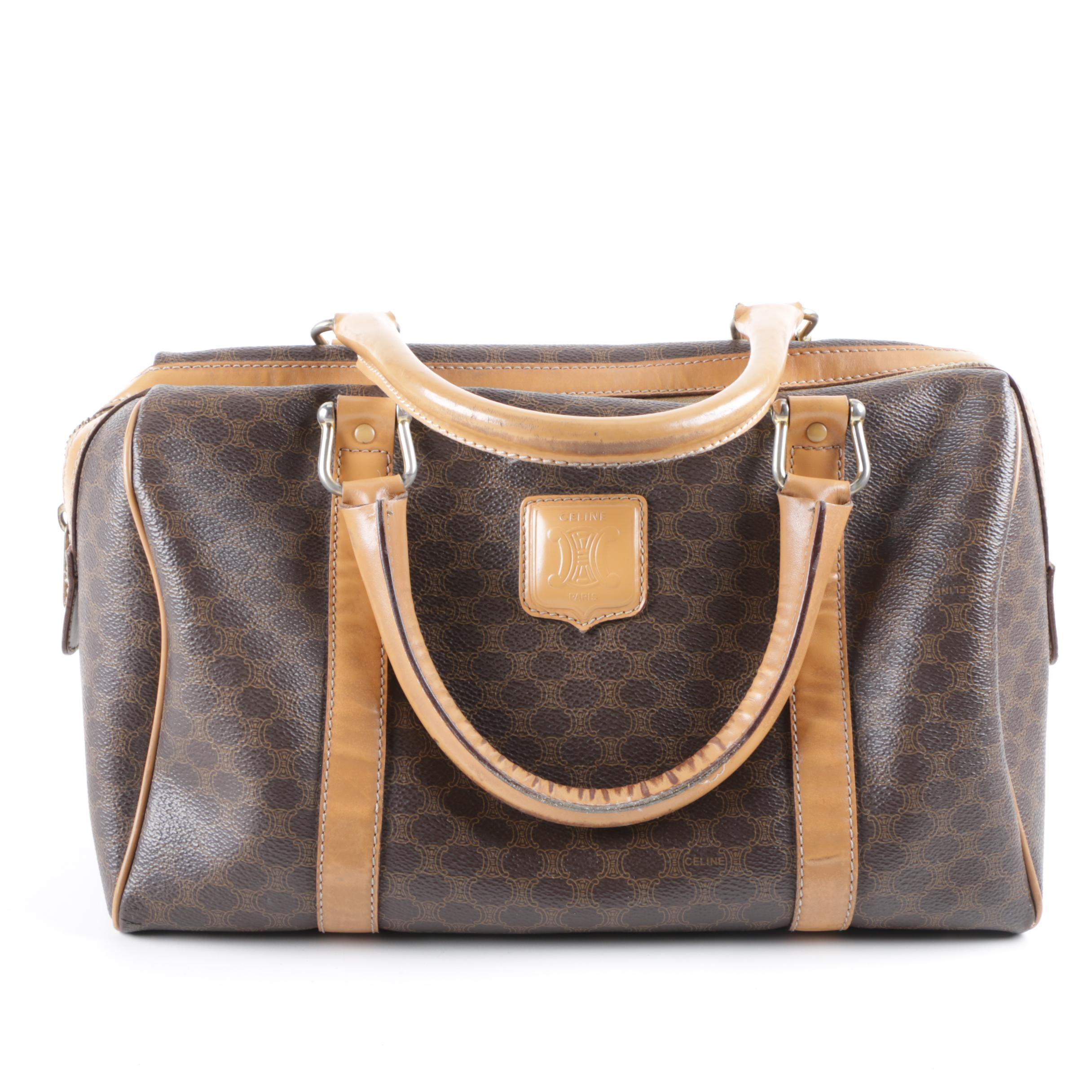 Céline Coated Canvas Macadam Handbag