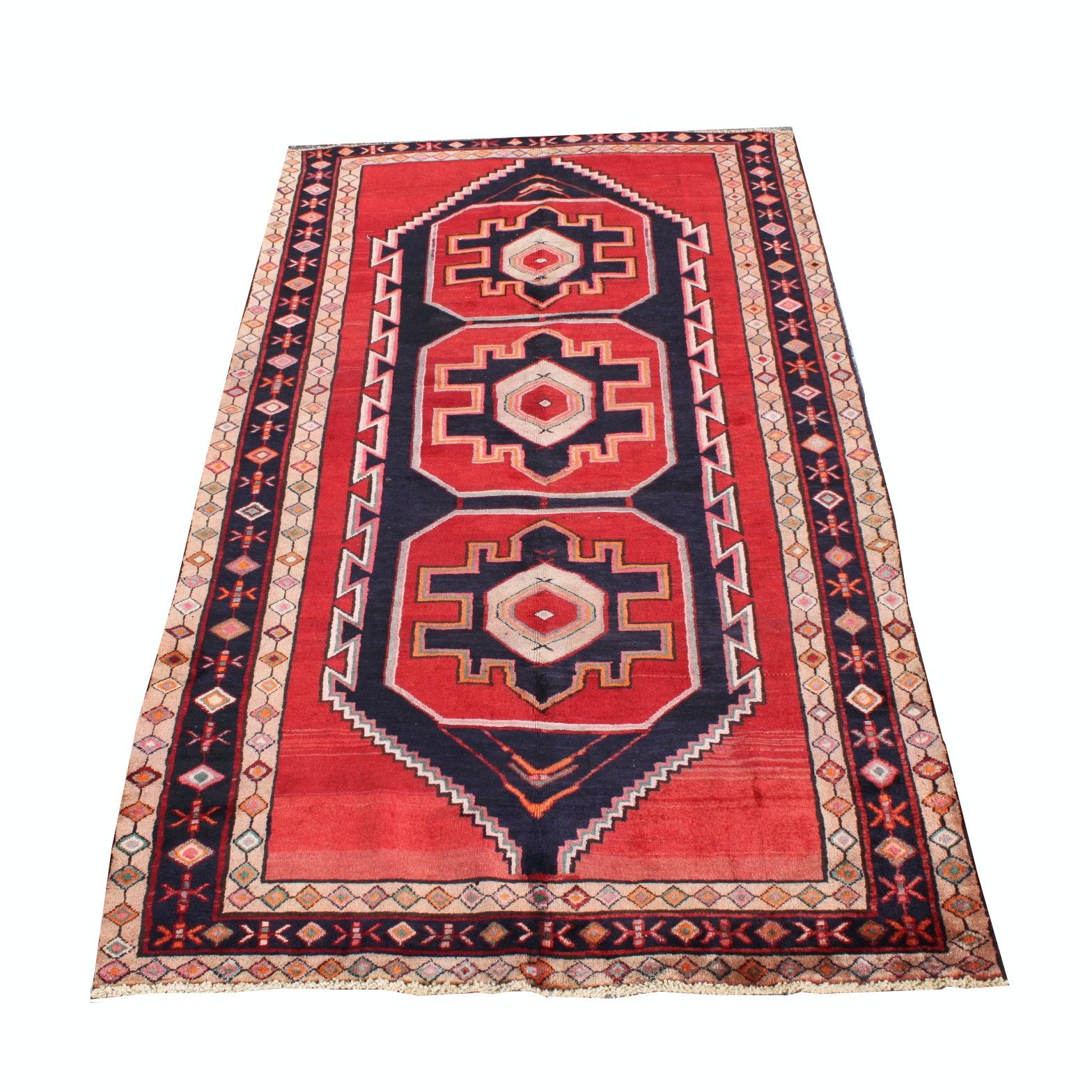 Hand-Knotted Persian Karaja Heriz Wool Area Rug