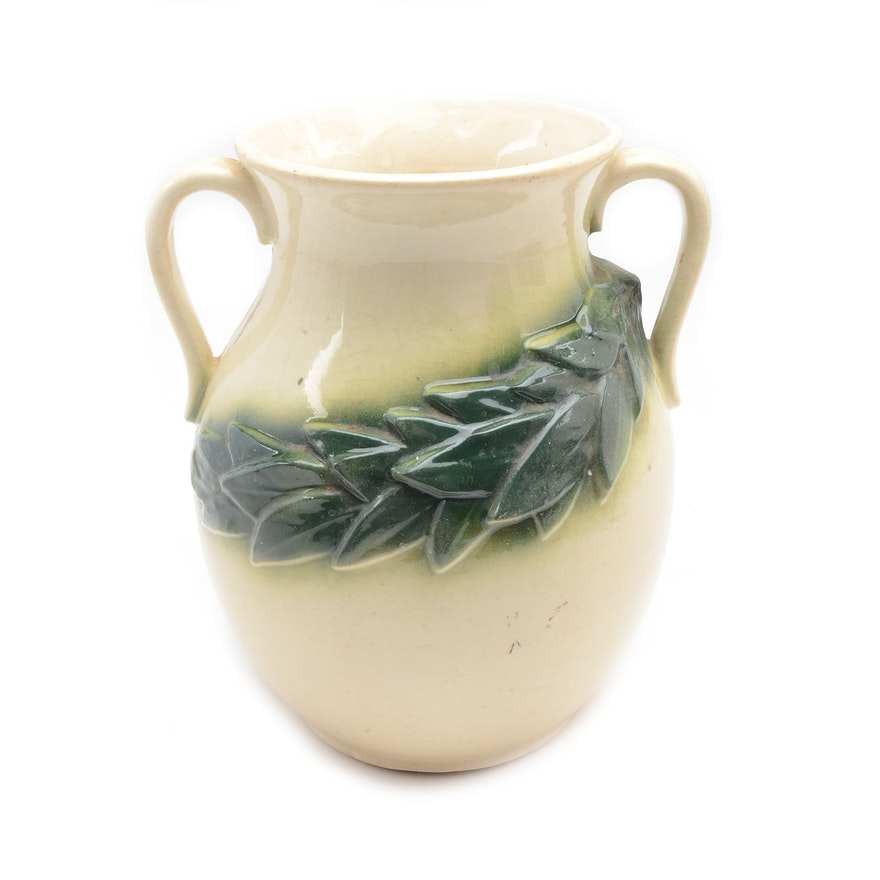 1930s Mccoy Pottery Vase With Handles Ebth