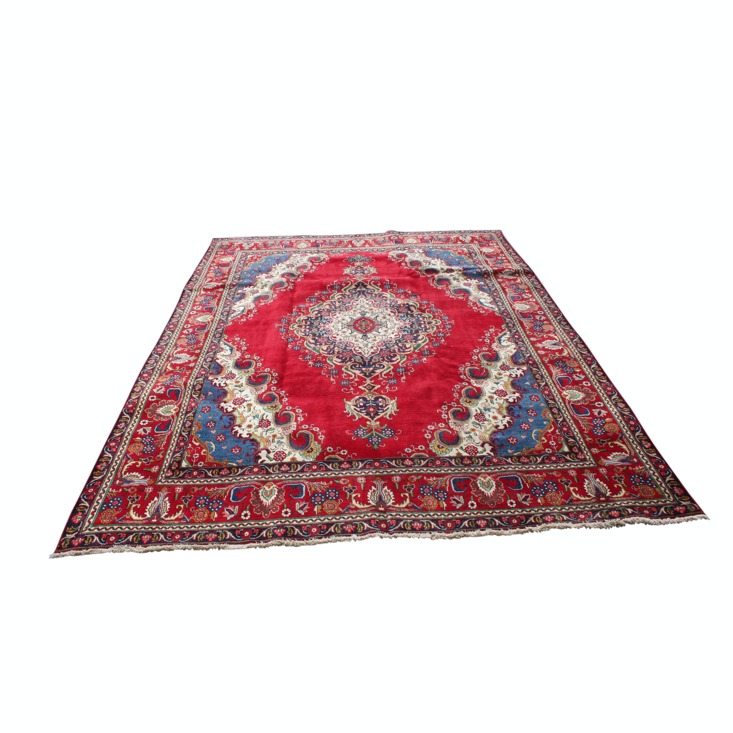 Vintage Hand-Knotted Persian Tabatabe Tabriz Wool Room Size Rug