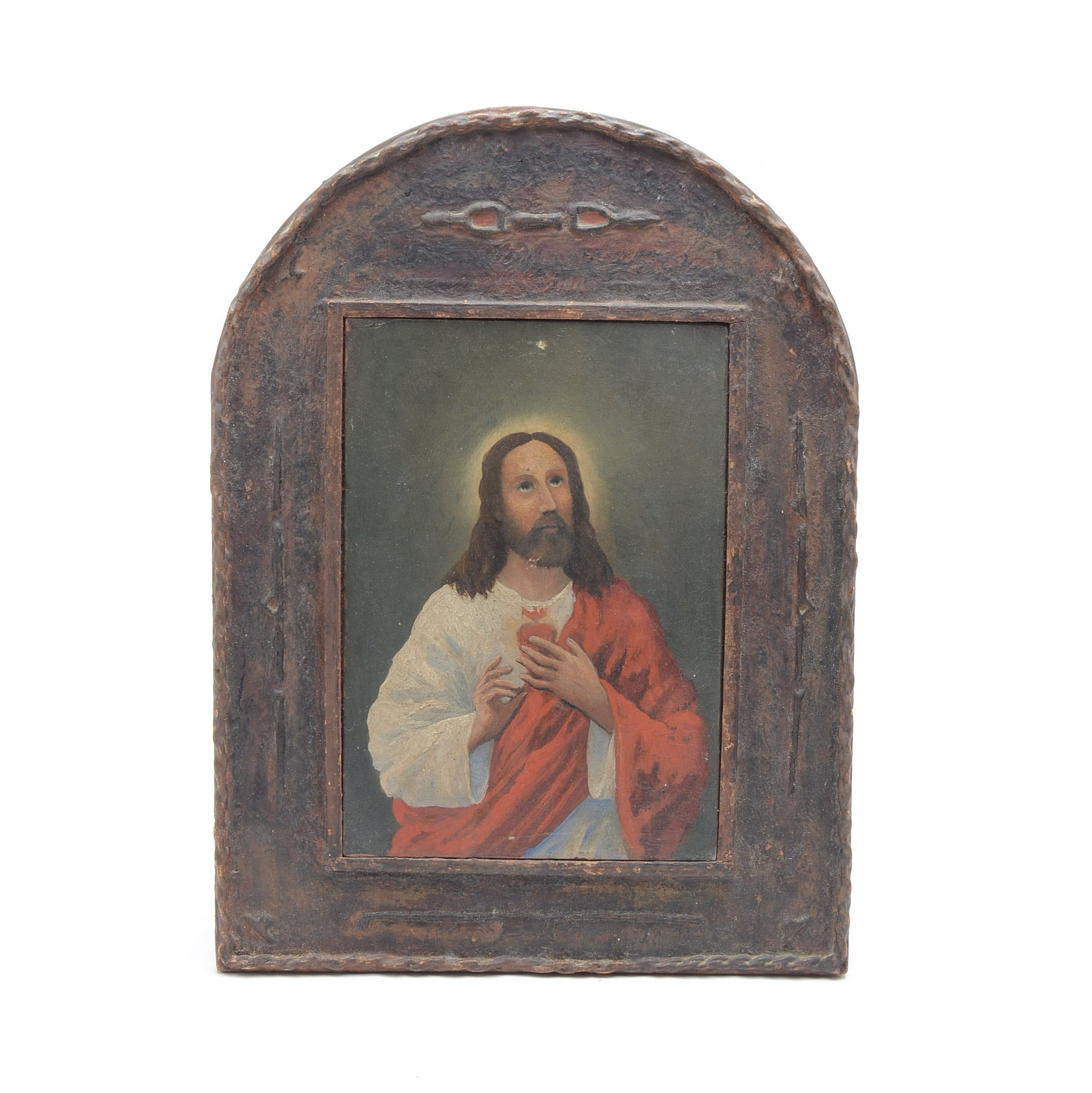 "Vintage ""Sacred Heart Jesus"" Retablo Oil On Board"