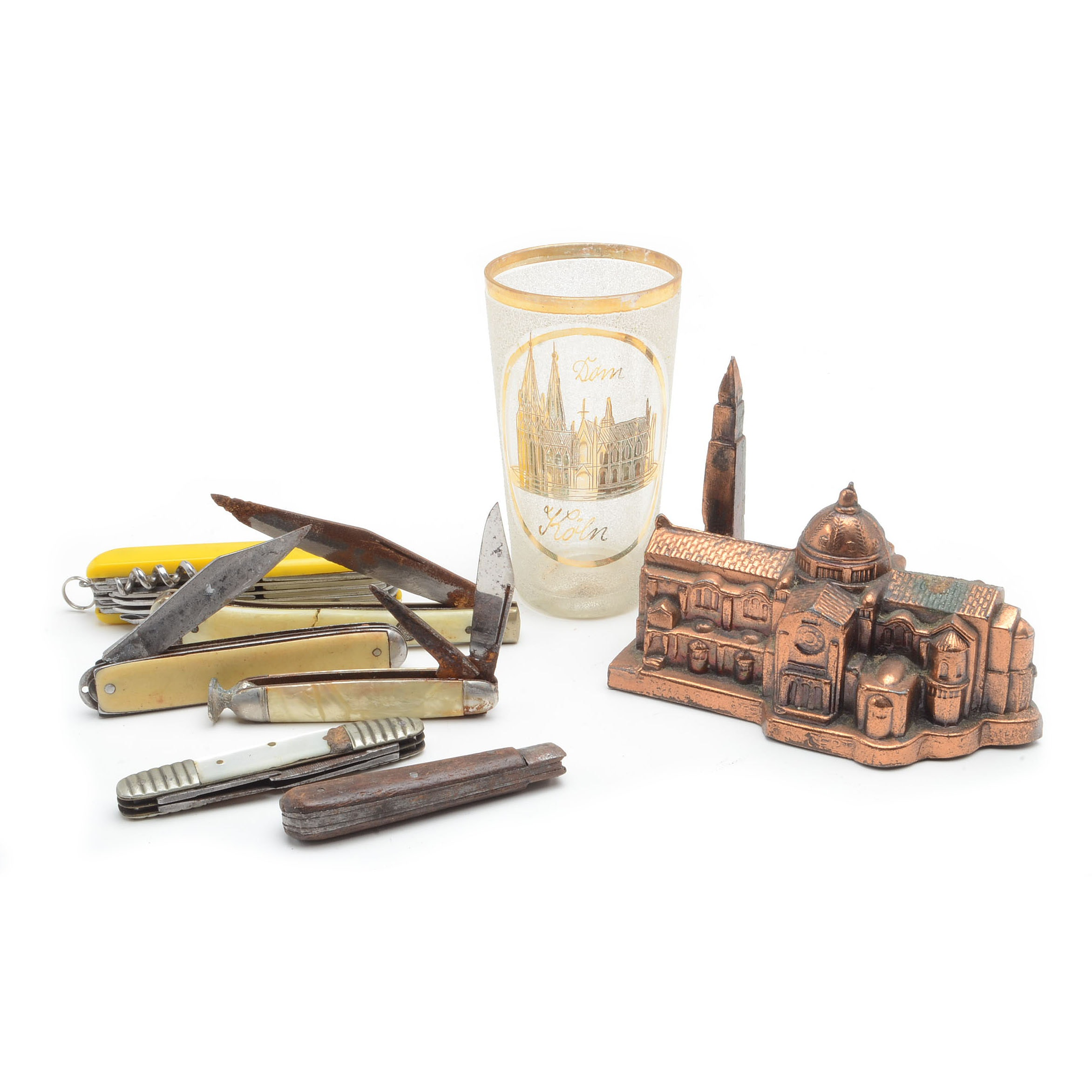 Pocket Knives and Souvenir Paperweight and Glass
