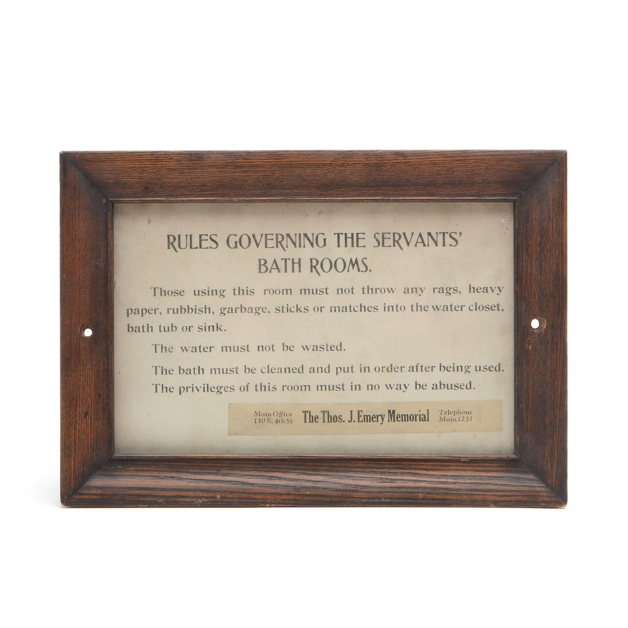 1920s Emery Foundation Framed  Servants Bath Room Rules Display