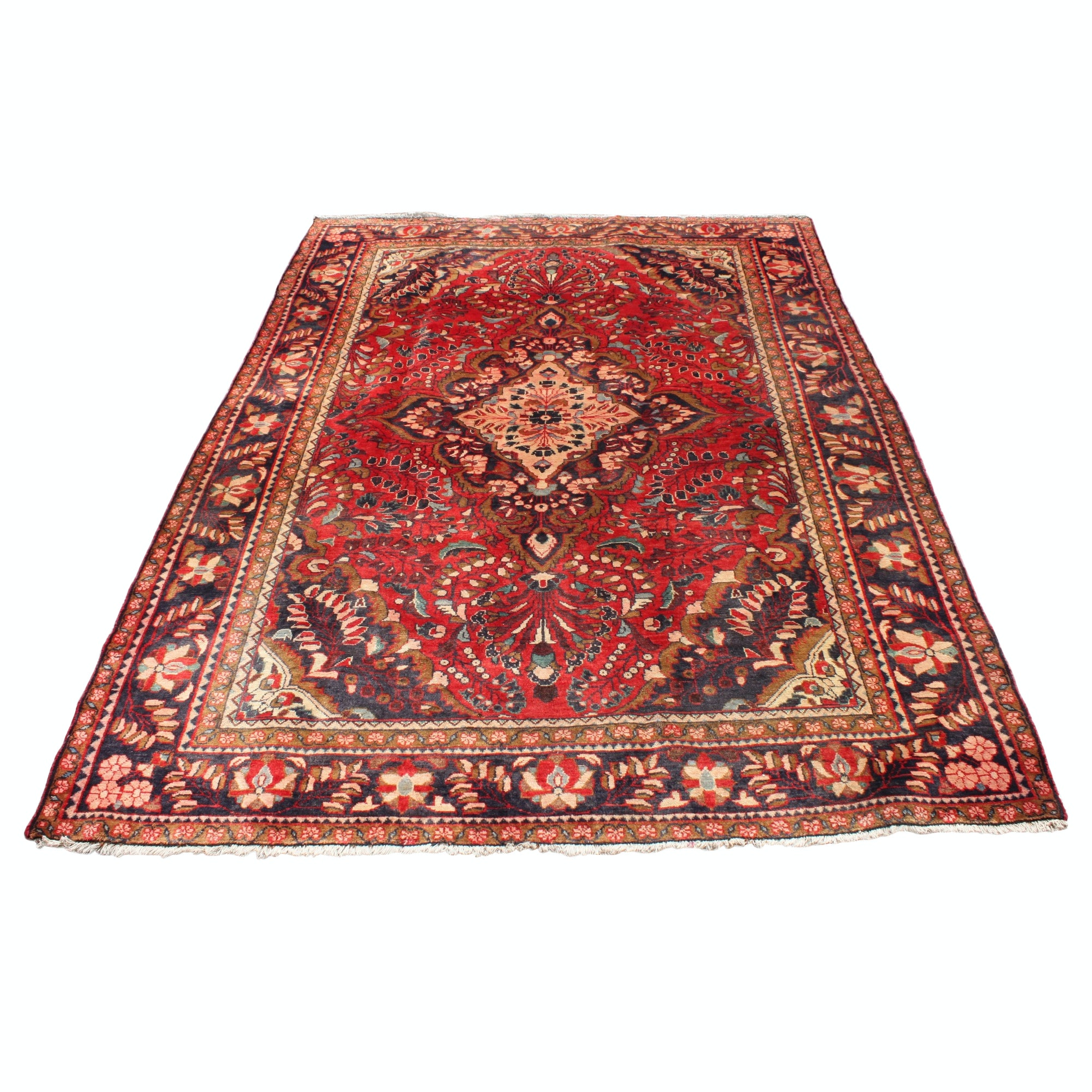 Vintage Hand-Knotted Persian Mohajeran Wool Area Rug