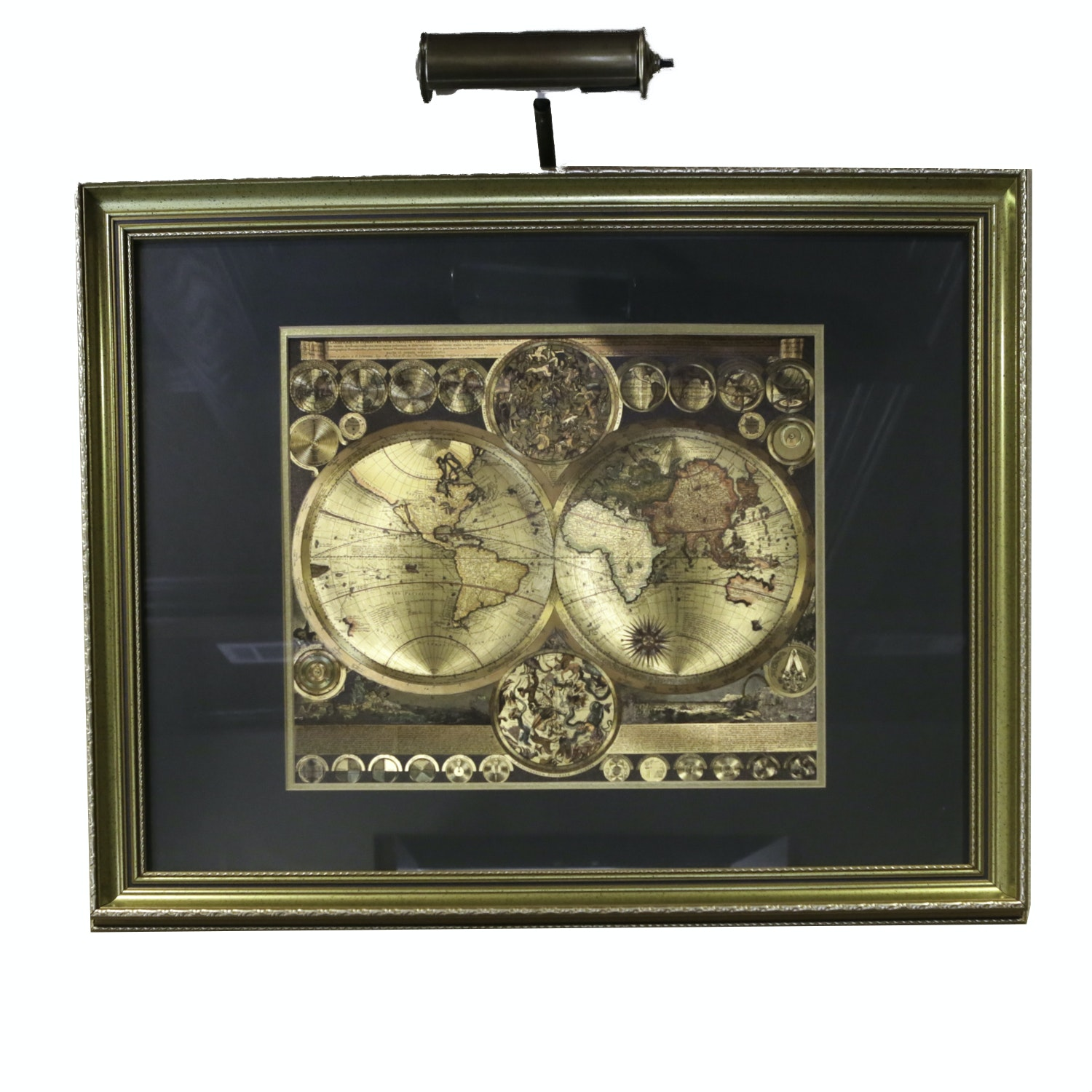 World Map By Peter Schenk The Elder.Gold Foil World Map With Gallery Light Ebth