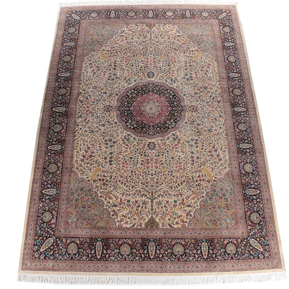 """Large Hand-Knotted Pakistani Persian """"Tree of Life"""" Wool Area Rug"""