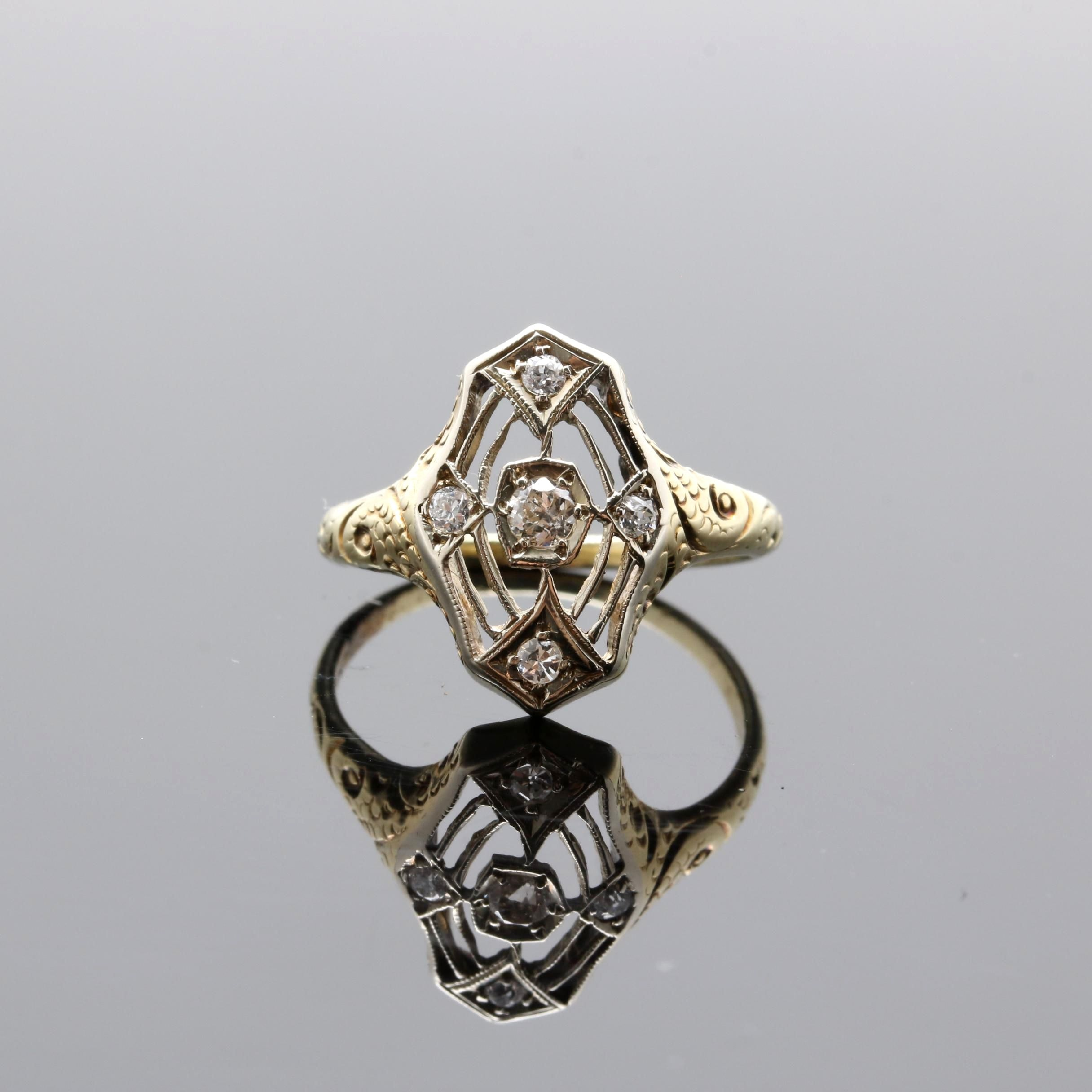 Art Deco 14K Yellow Gold Diamond Ring