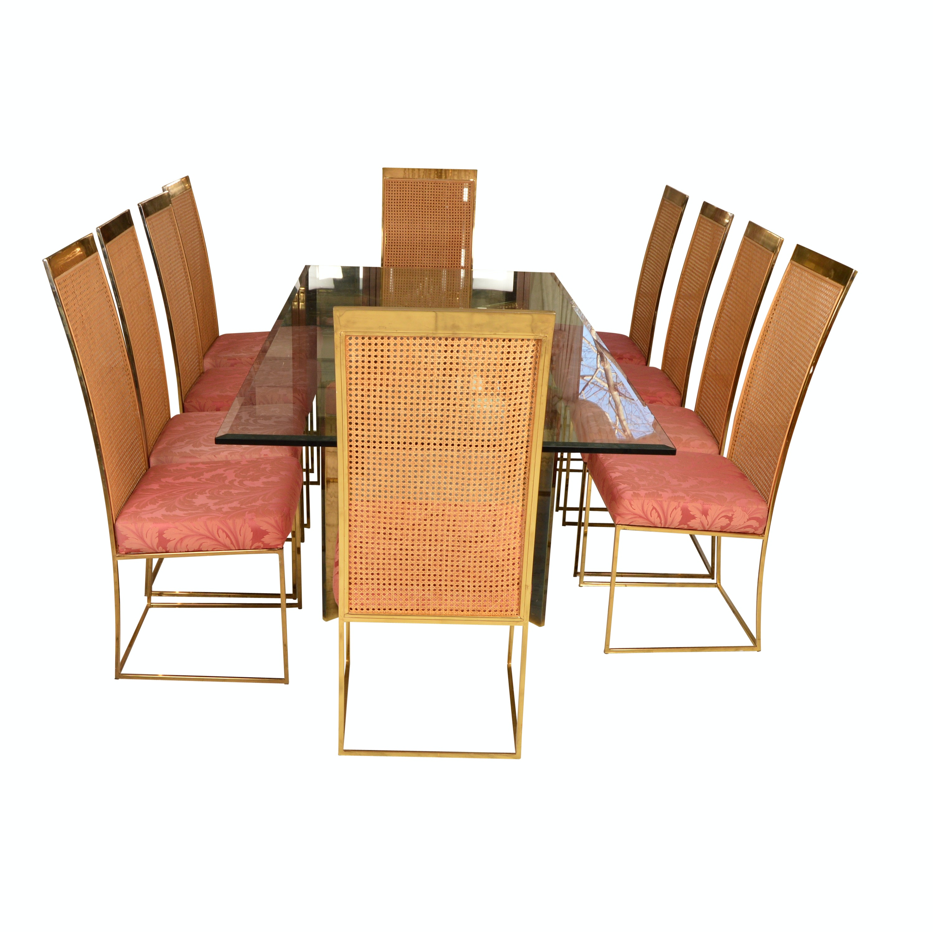 Hollywood Regency Style Glass and Brass Dining Table and Ten Chairs