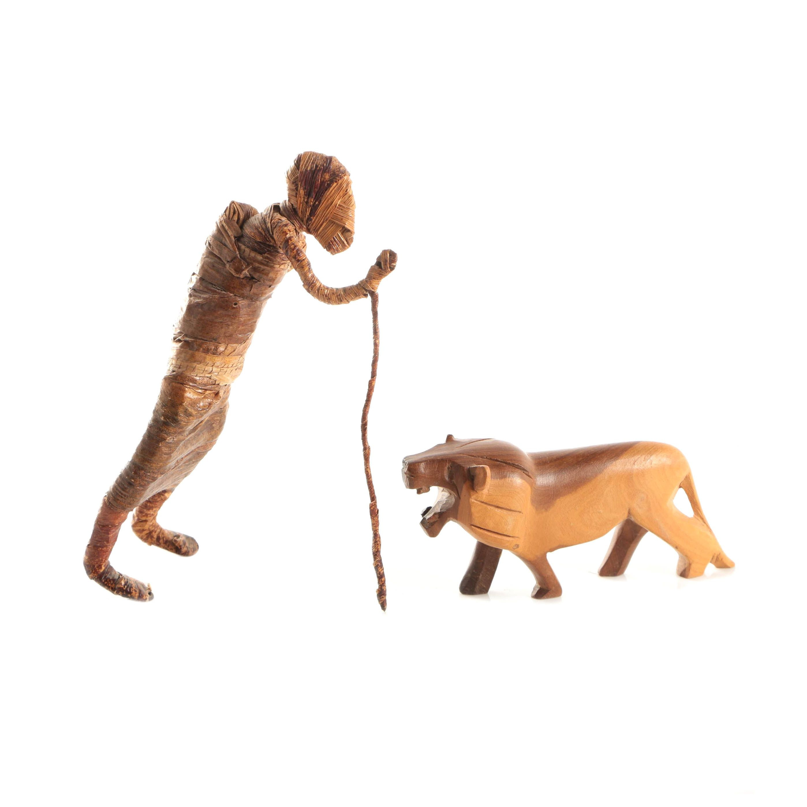 Kenyan Figural Sculpture with Carved Wood Lion